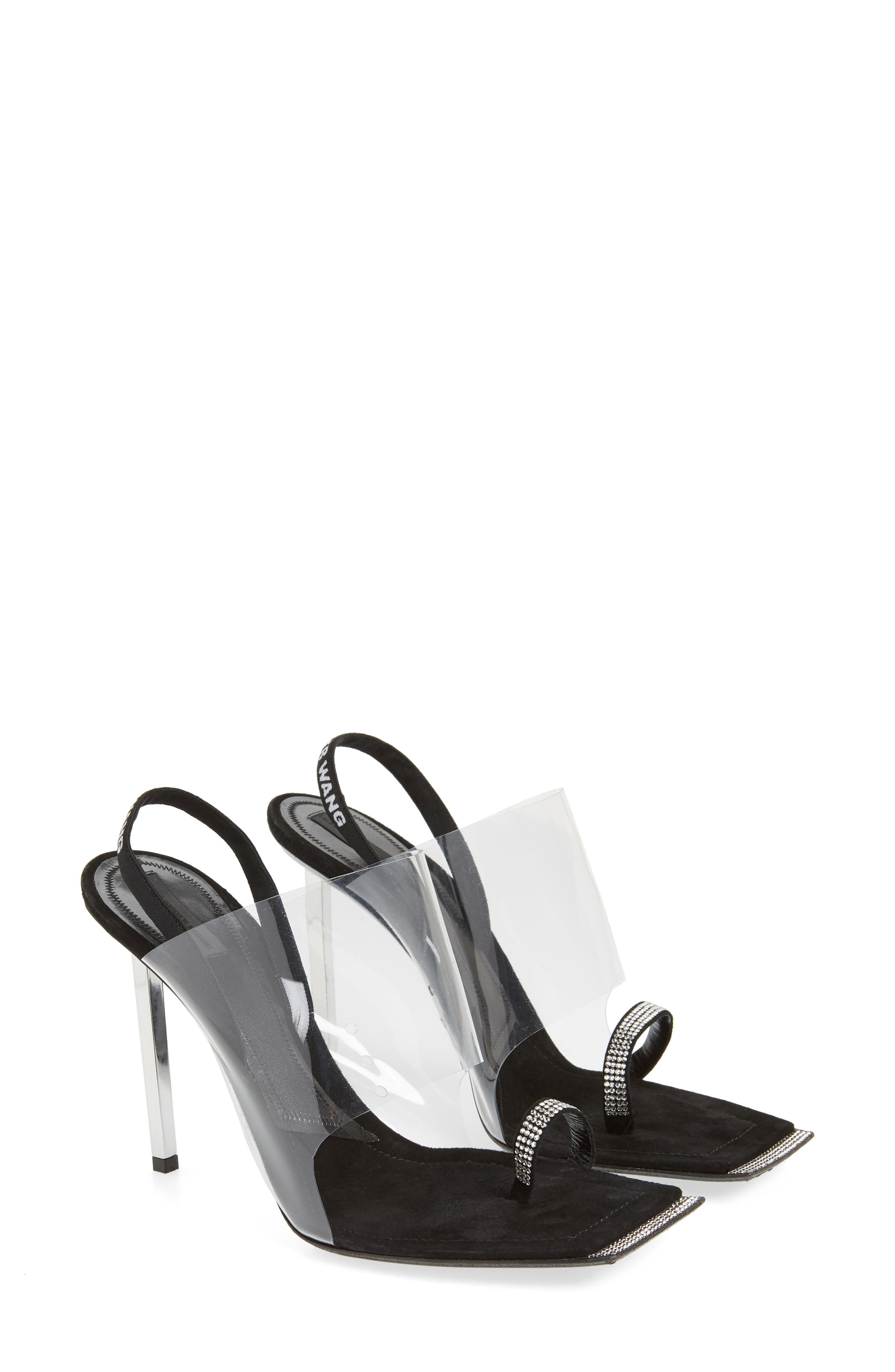 ALEXANDER WANG, Clear Shield Sandal, Alternate thumbnail 2, color, BLACK