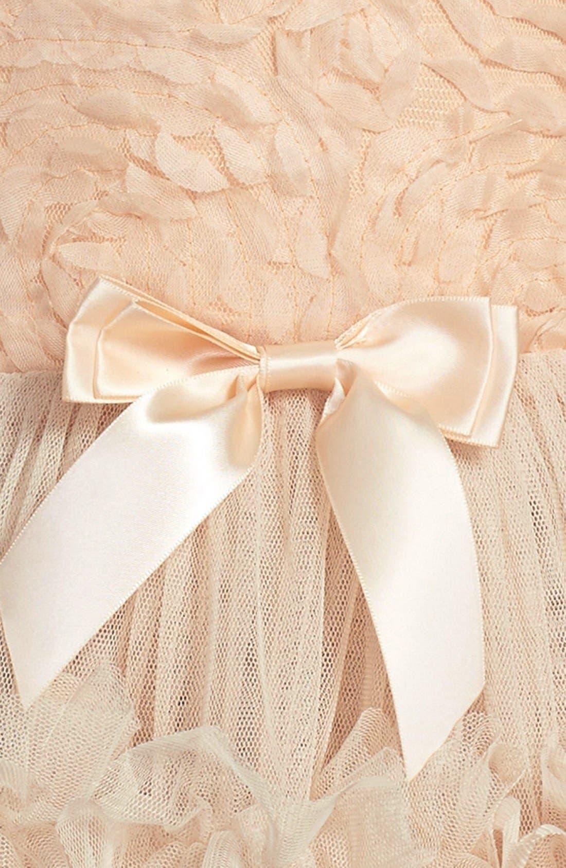 POPATU, Ribbon Rosette Sleeveless Dress, Alternate thumbnail 3, color, IVORY