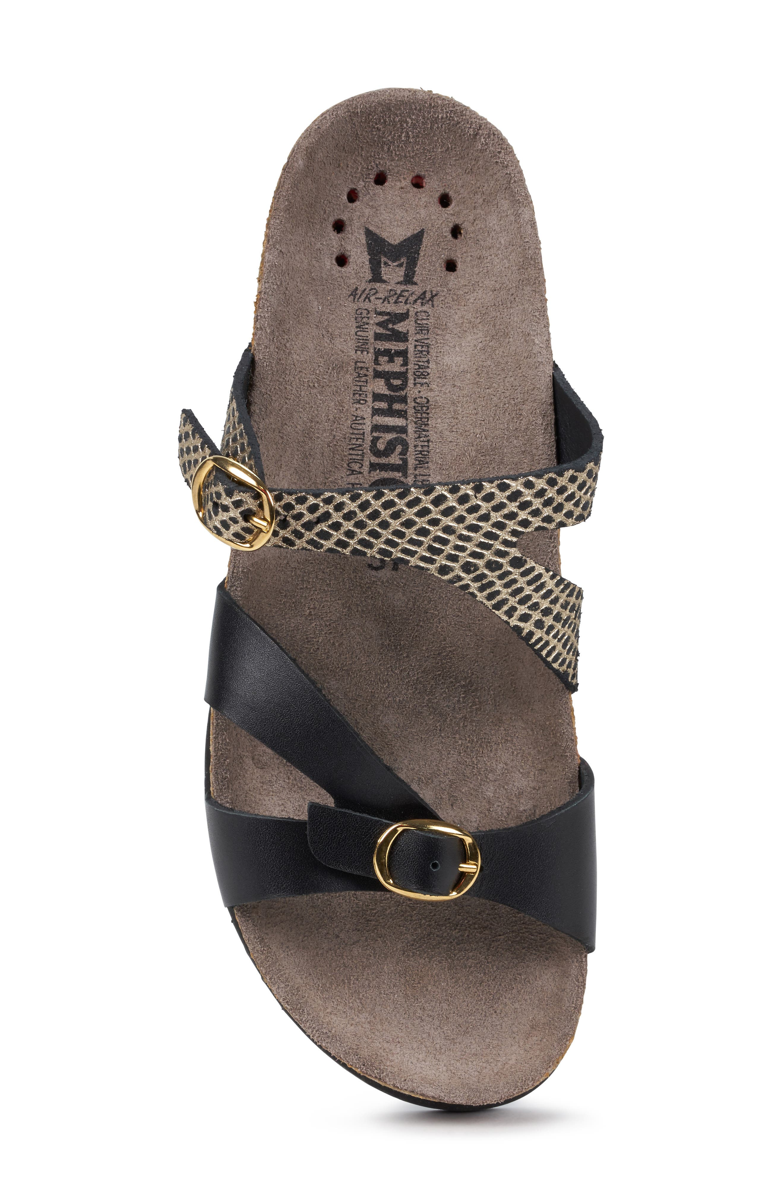 MEPHISTO, 'Hannel' Sandal, Alternate thumbnail 5, color, BLACK CUBA WAXY LEATHER