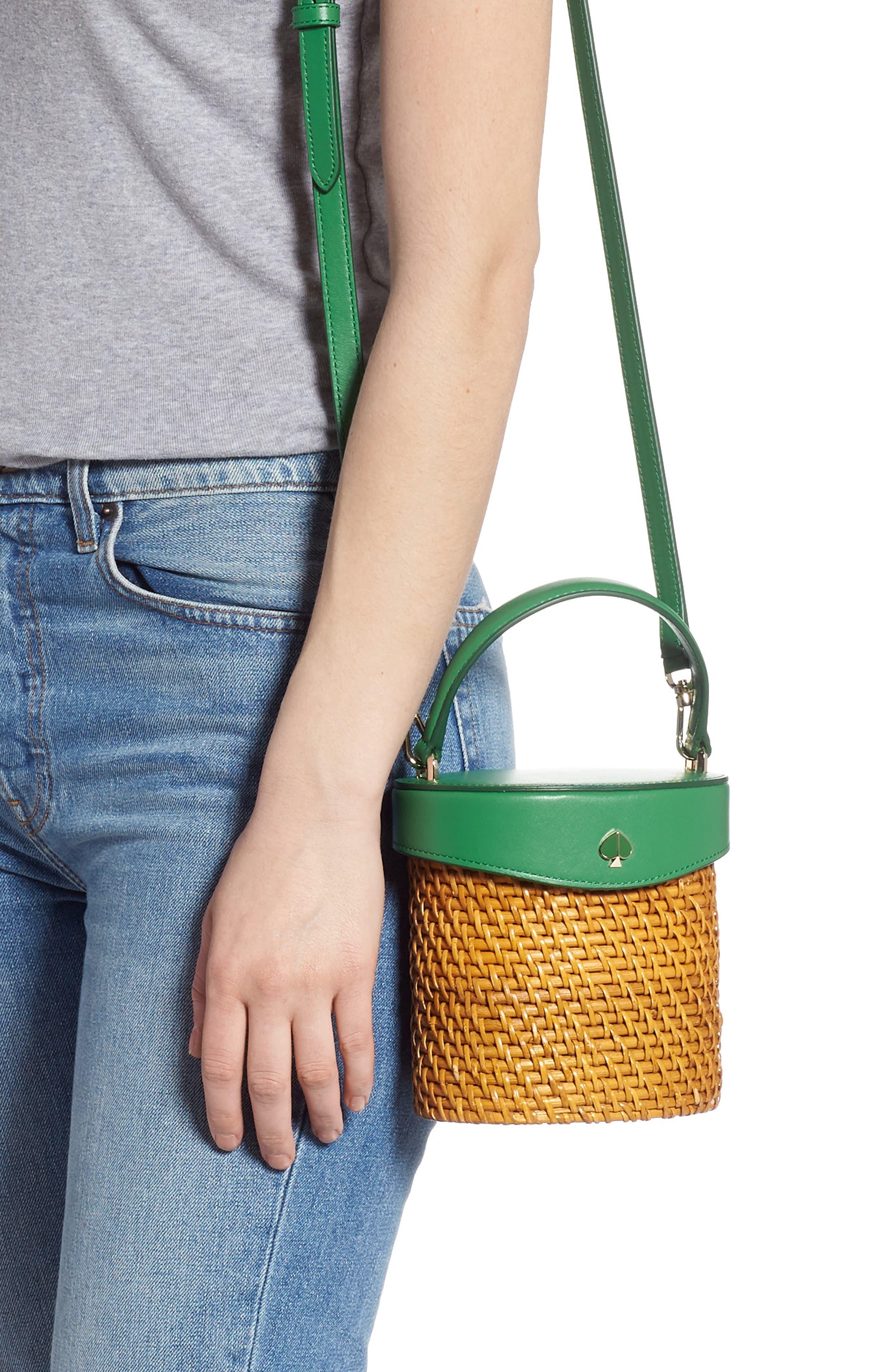 KATE SPADE NEW YORK, mini rose rattan bucket bag, Alternate thumbnail 2, color, GREEN BEAN