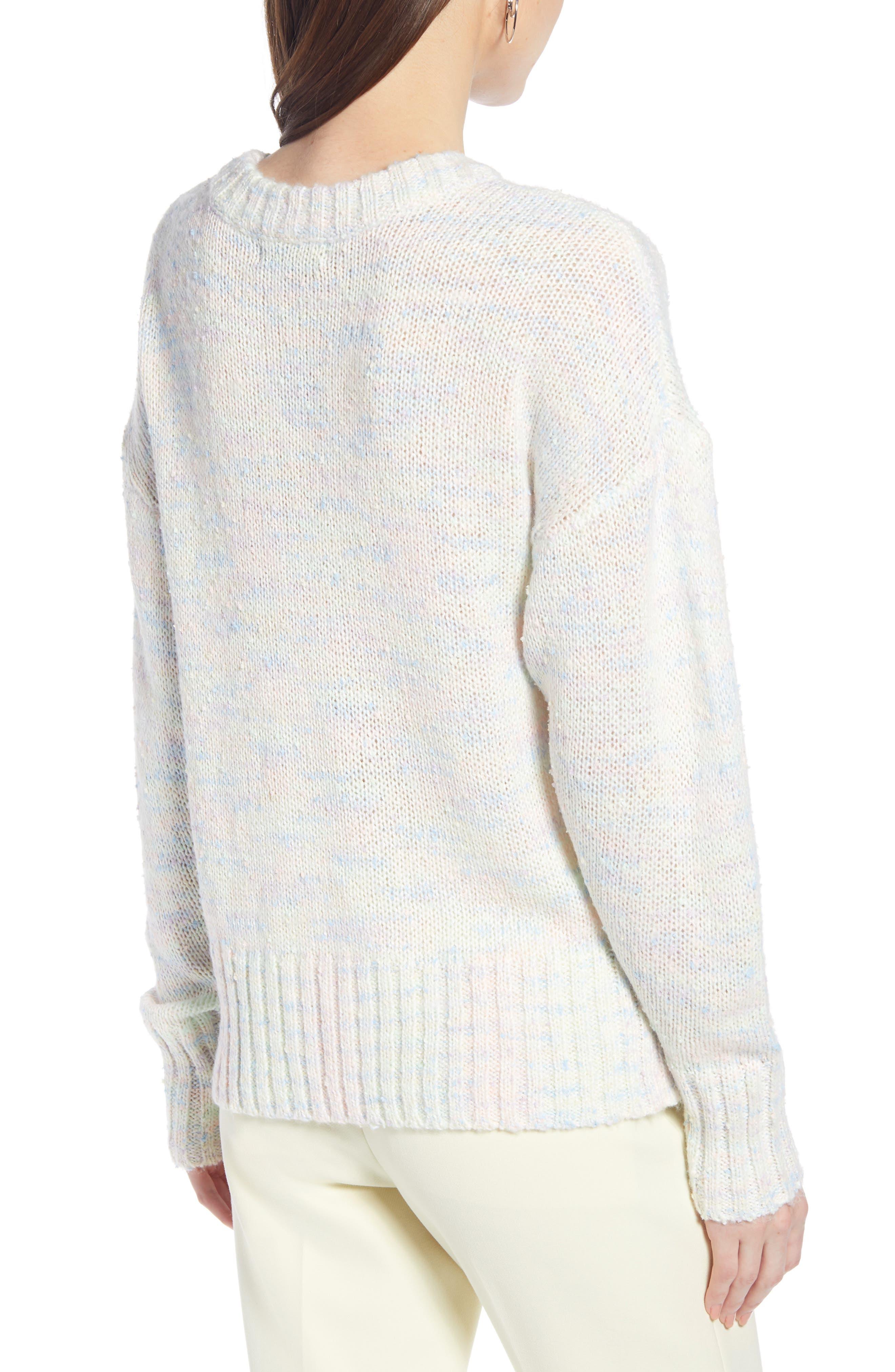 SOMETHING NAVY, Crewneck Sweater, Alternate thumbnail 2, color, IVORY COMBO