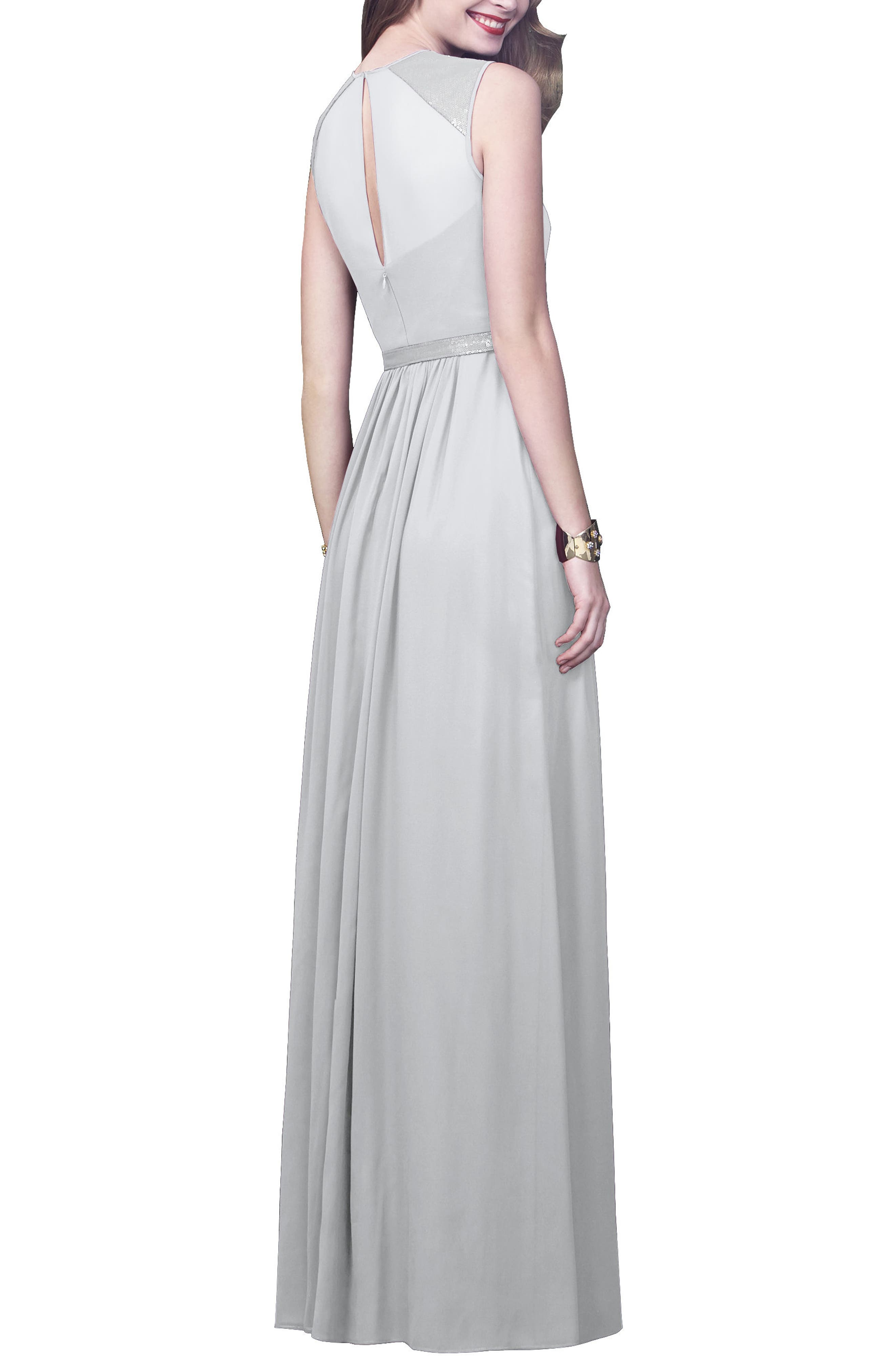 DESSY COLLECTION, Embellished Open Back Gown, Alternate thumbnail 2, color, FROST
