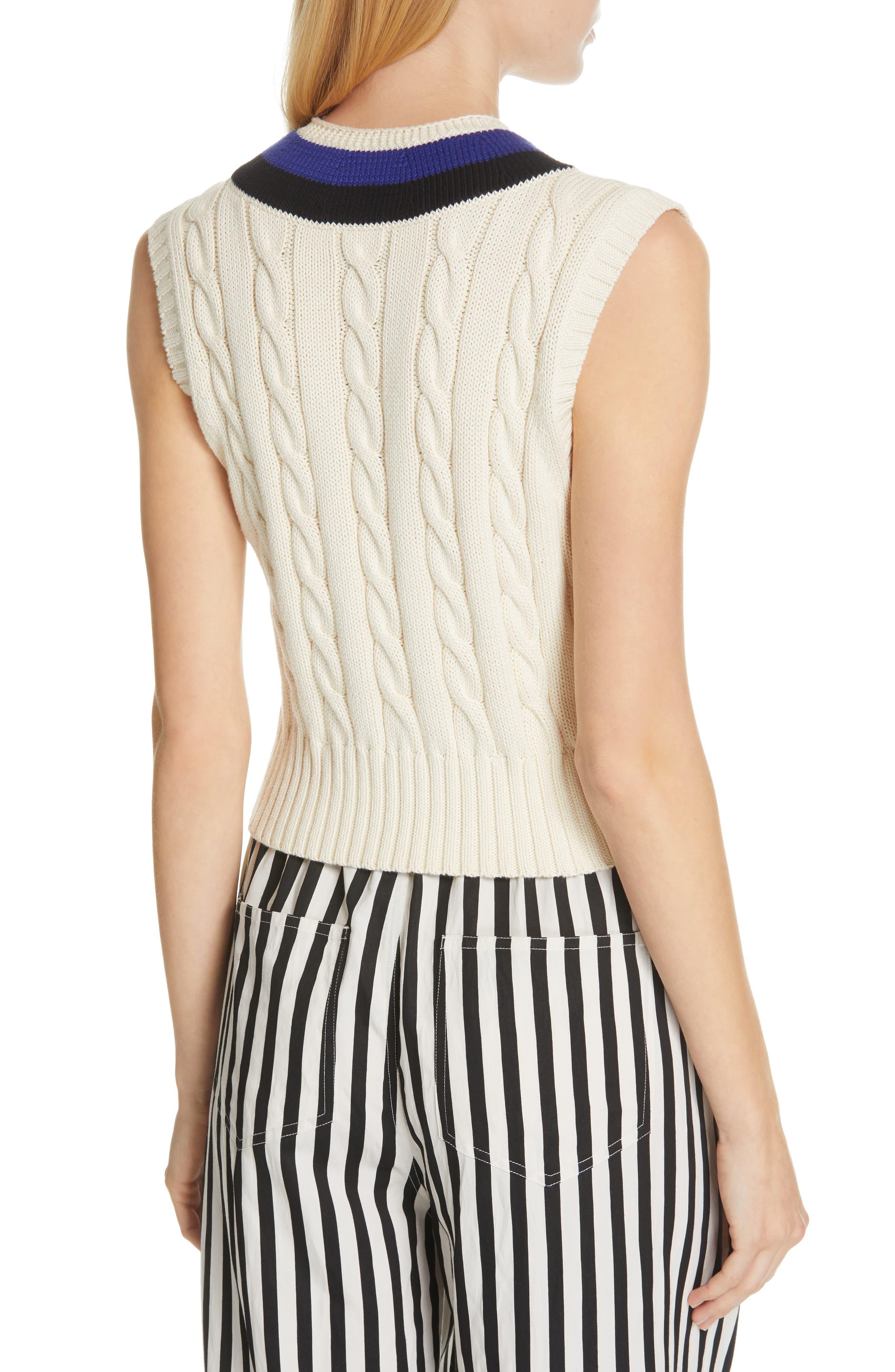 POLO RALPH LAUREN, Cable Sweater Vest, Alternate thumbnail 2, color, CREAM/ BLACK/ ROYAL