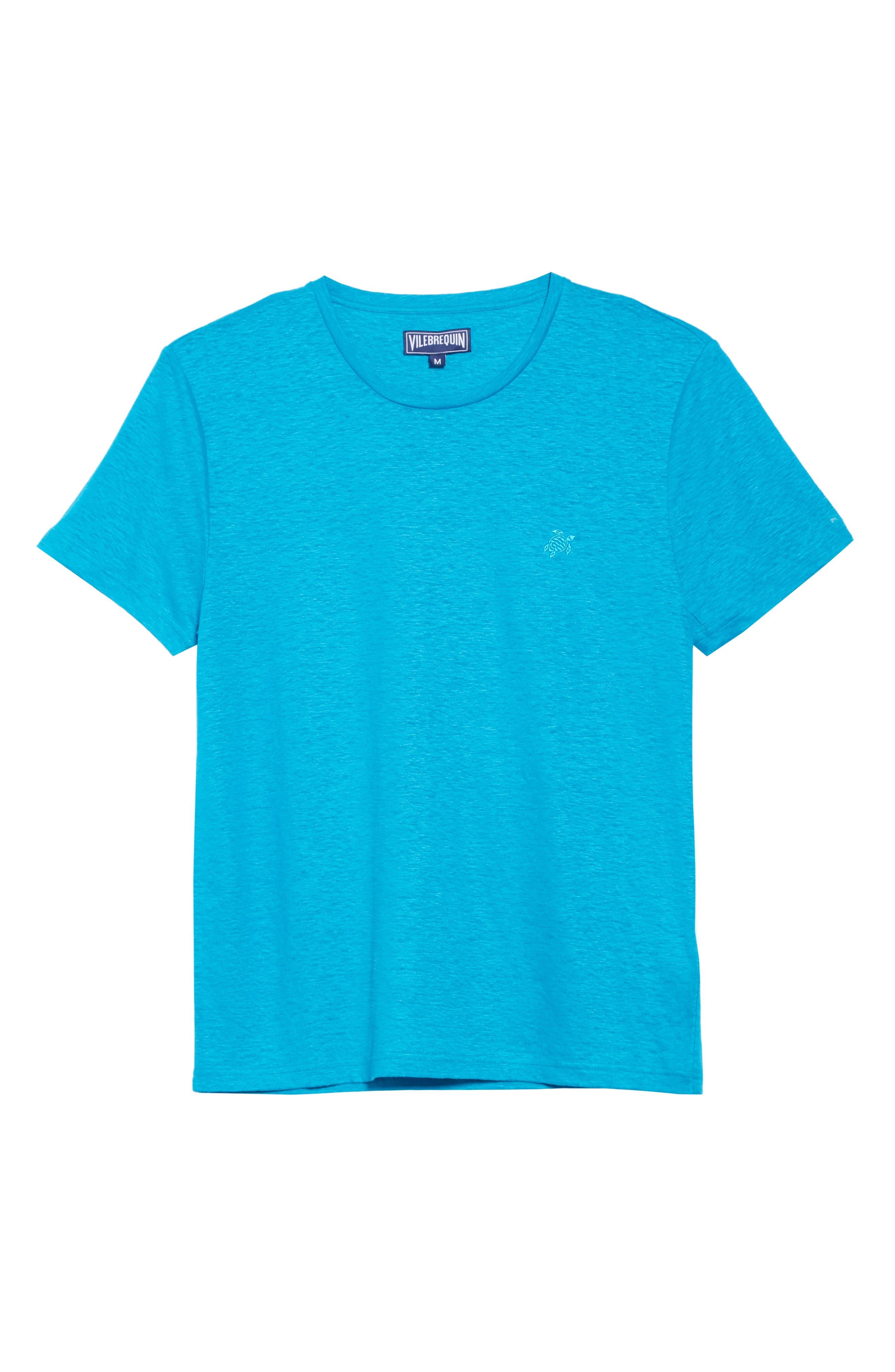 VILEBREQUIN, Linen Jersey T-Shirt, Alternate thumbnail 6, color, SEYCHELLES