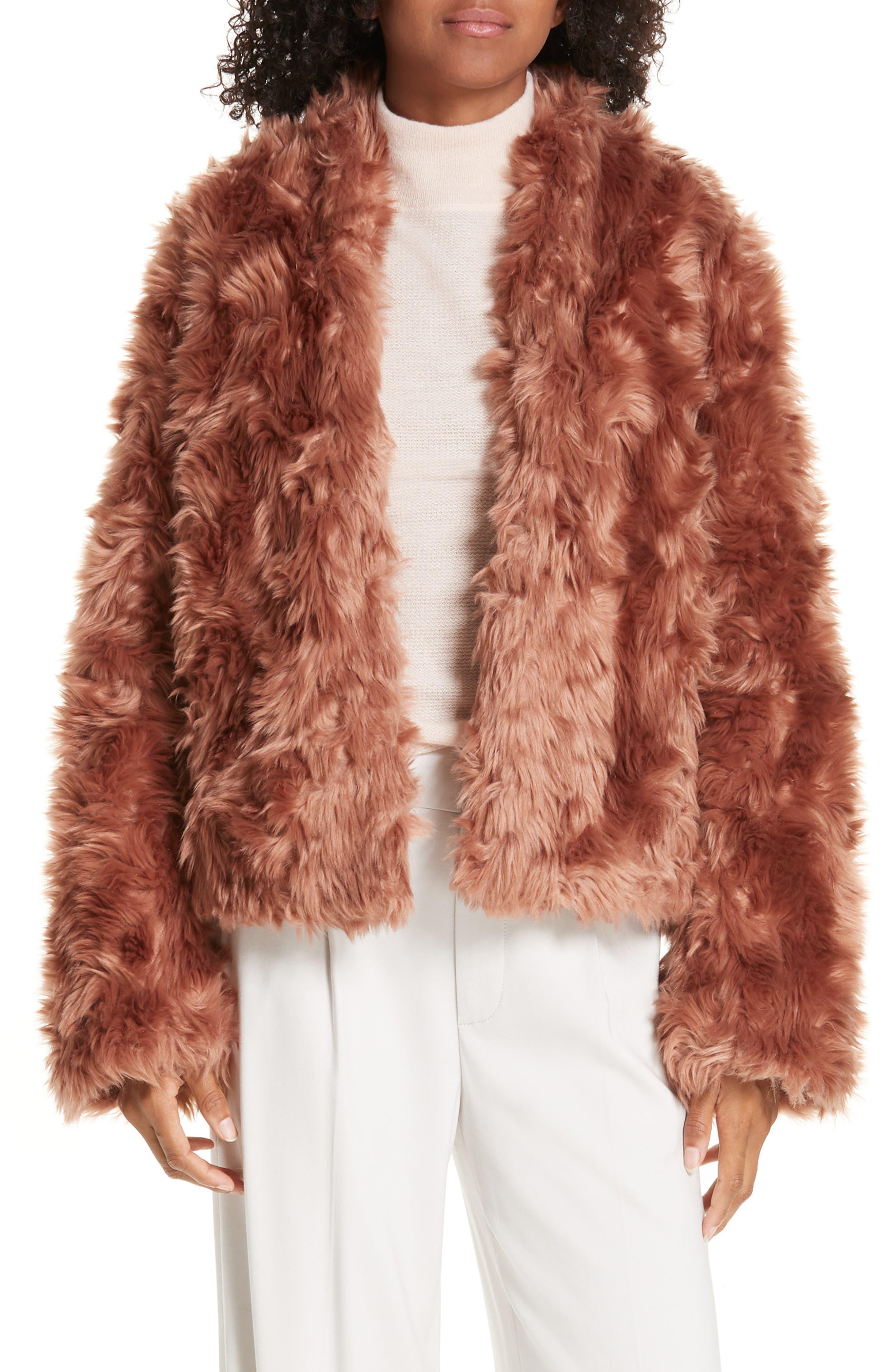VINCE, Plush Faux Fur Jacket, Main thumbnail 1, color, PINK UMBER