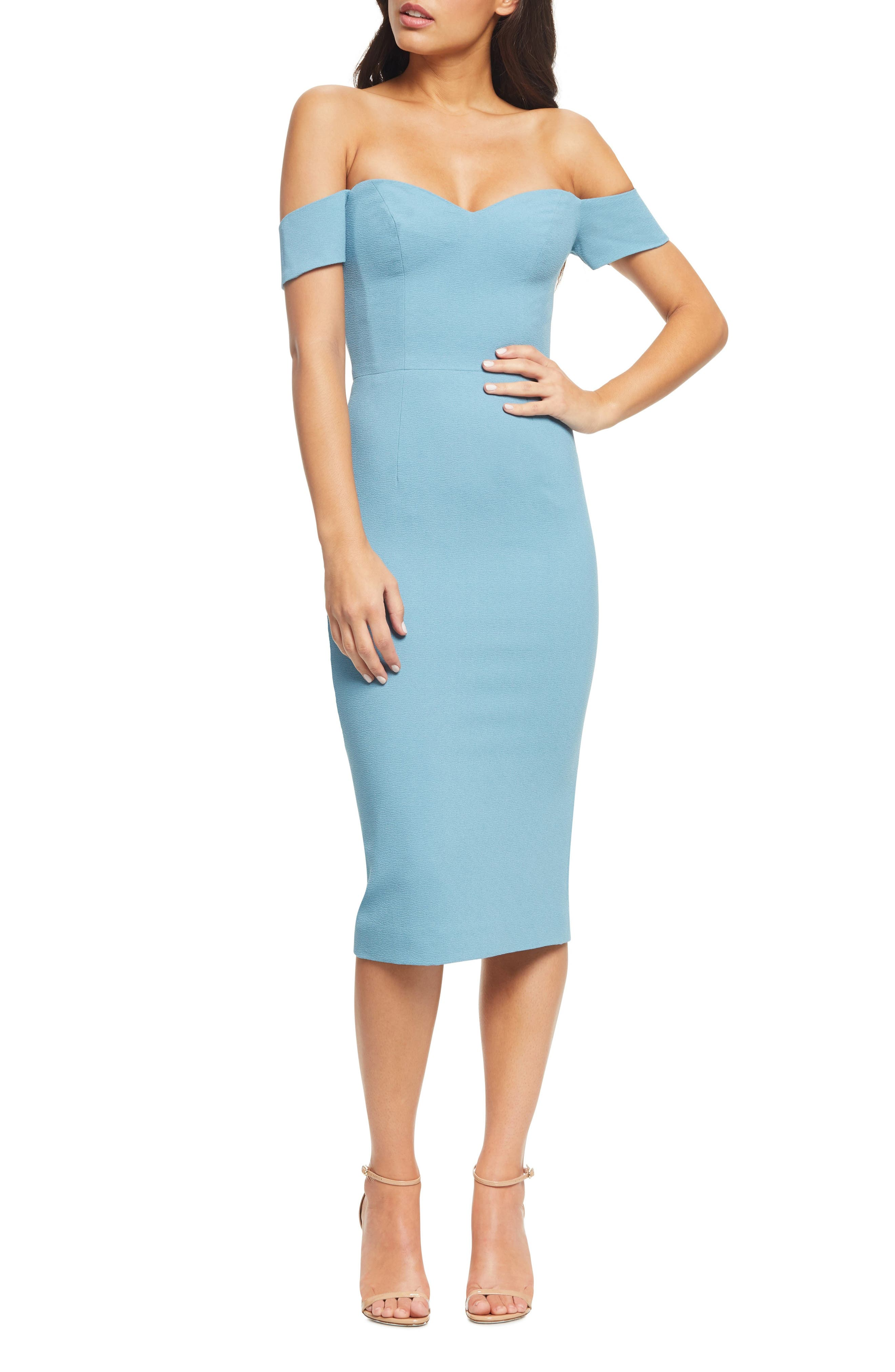 DRESS THE POPULATION Bailey Off the Shoulder Body-Con Dress, Main, color, SEA BREEZE
