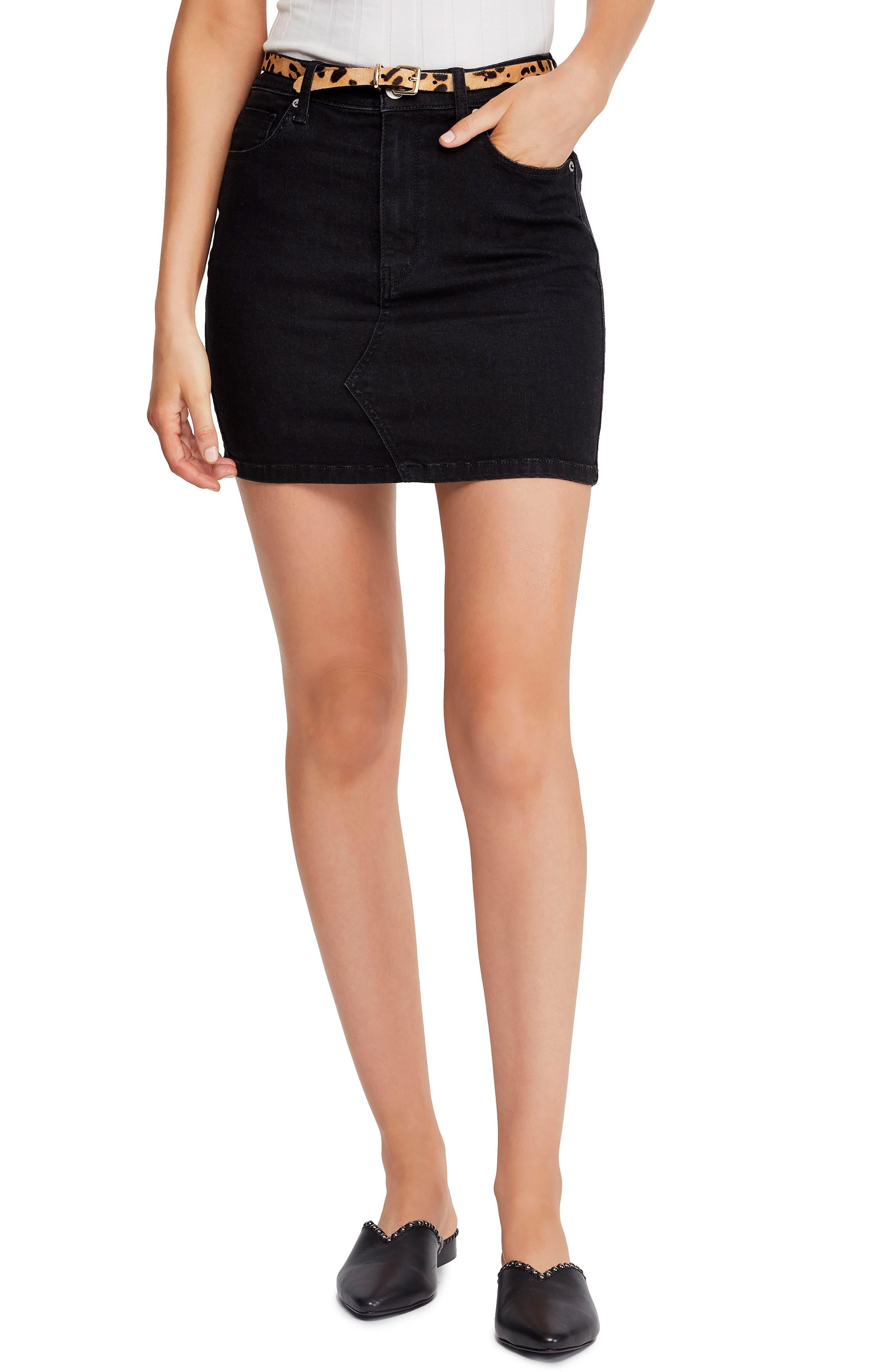 FREE PEOPLE Teagan Denim Miniskirt, Main, color, BLACK