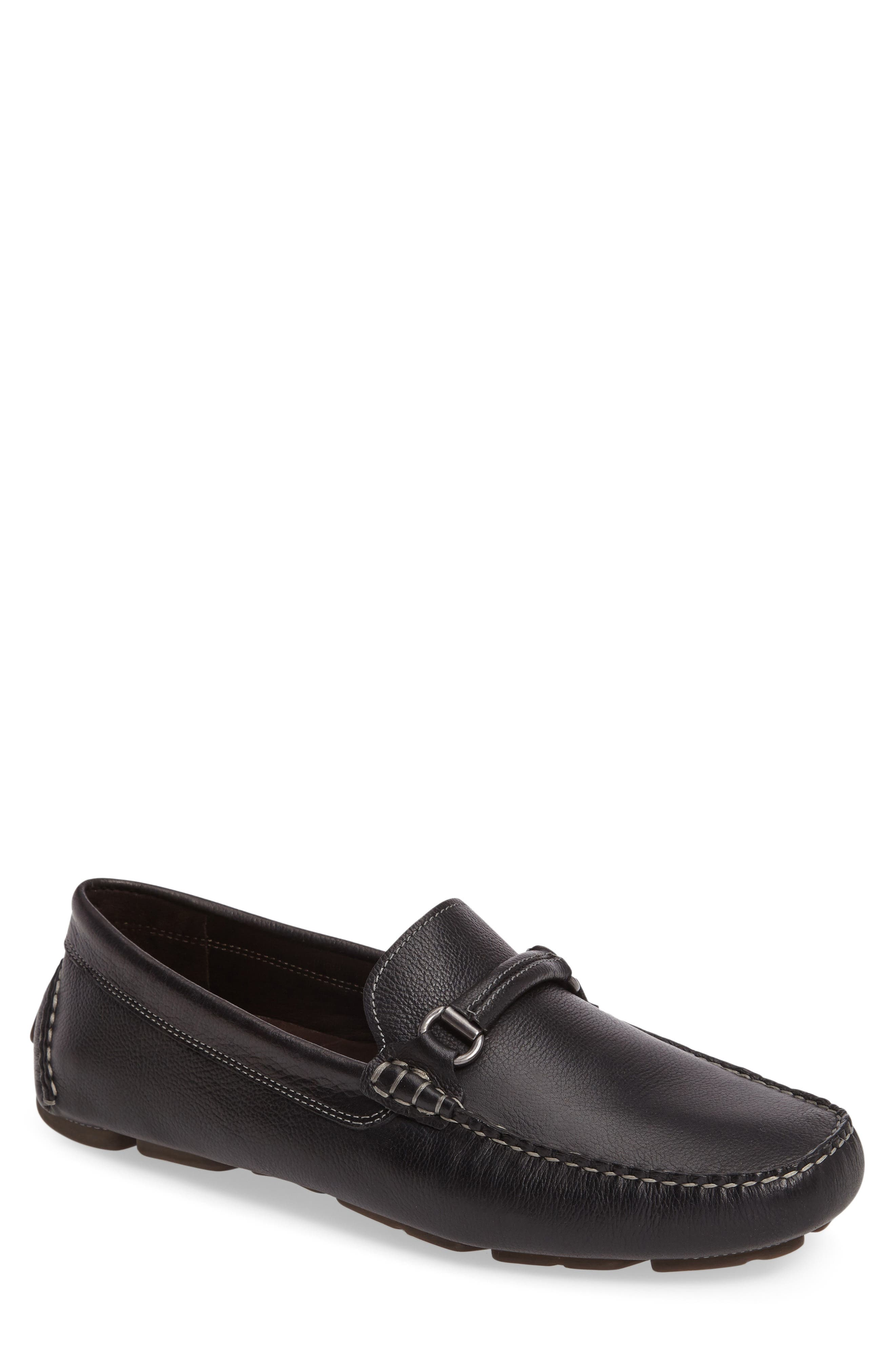 JOHNSTON & MURPHY Gibson Bit Driving Loafer, Main, color, BLACK LEATHER