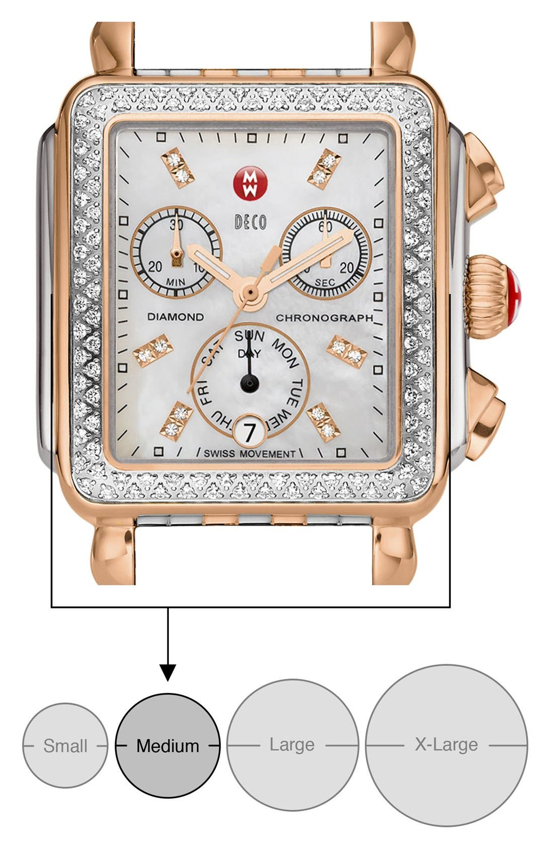 MICHELE, Deco Diamond Diamond Dial Watch Case, 33mm x 35mm, Alternate thumbnail 8, color, SILVER/ ROSE GOLD