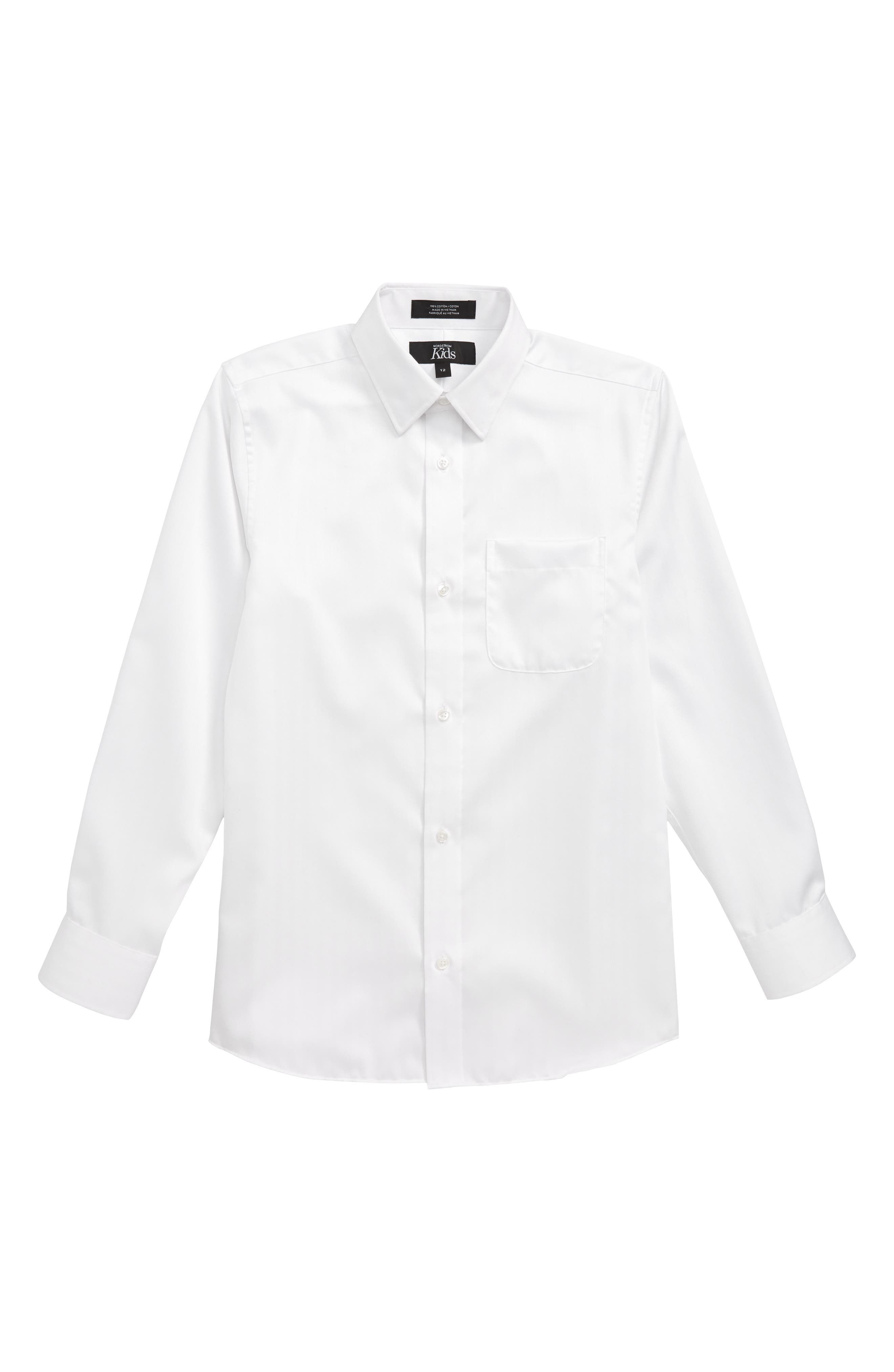 NORDSTROM Textured Dress Shirt, Main, color, 100