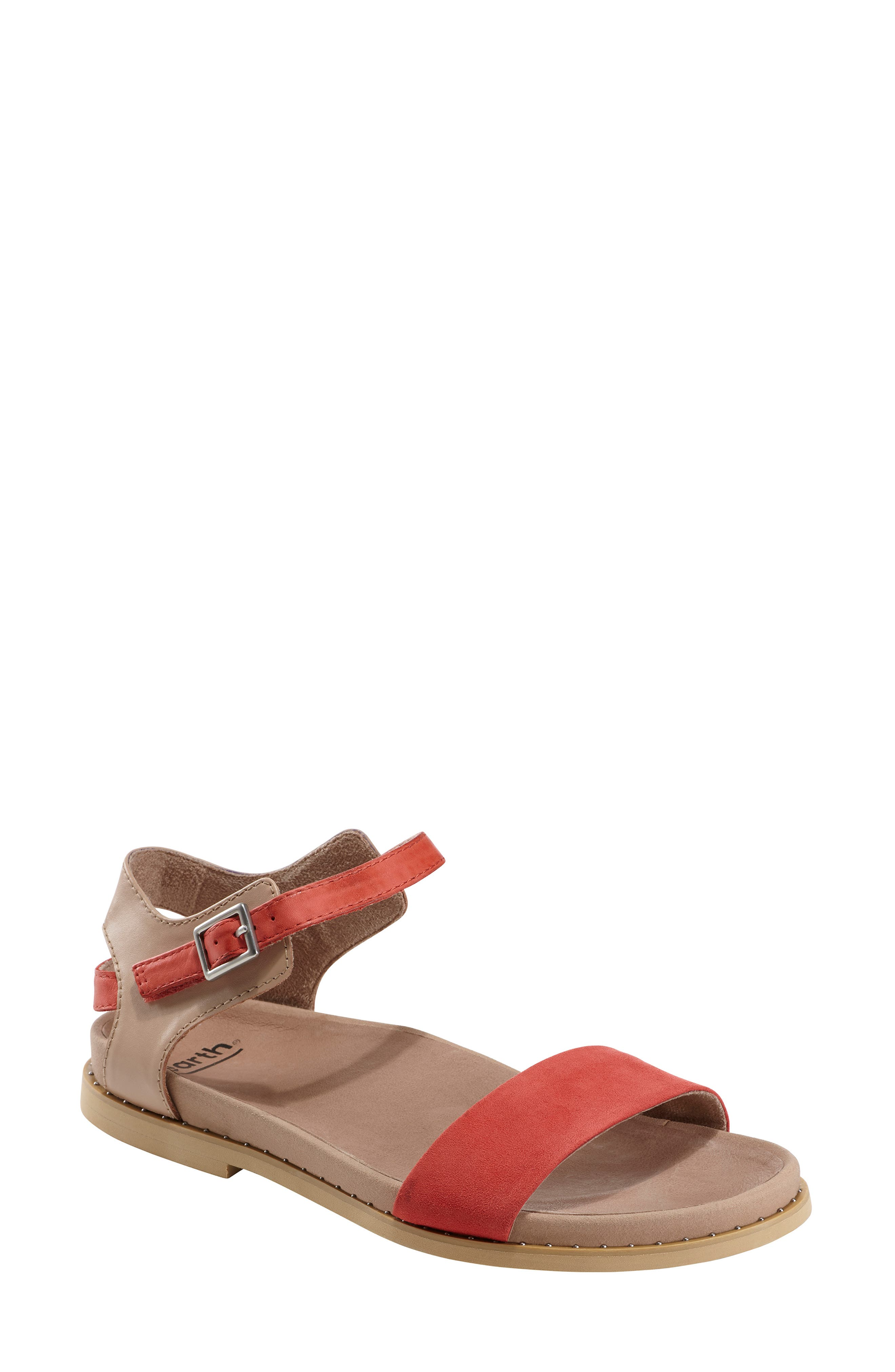 EARTH<SUP>®</SUP>, Cameo Sandal, Main thumbnail 1, color, BRIGHT CORAL SUEDE