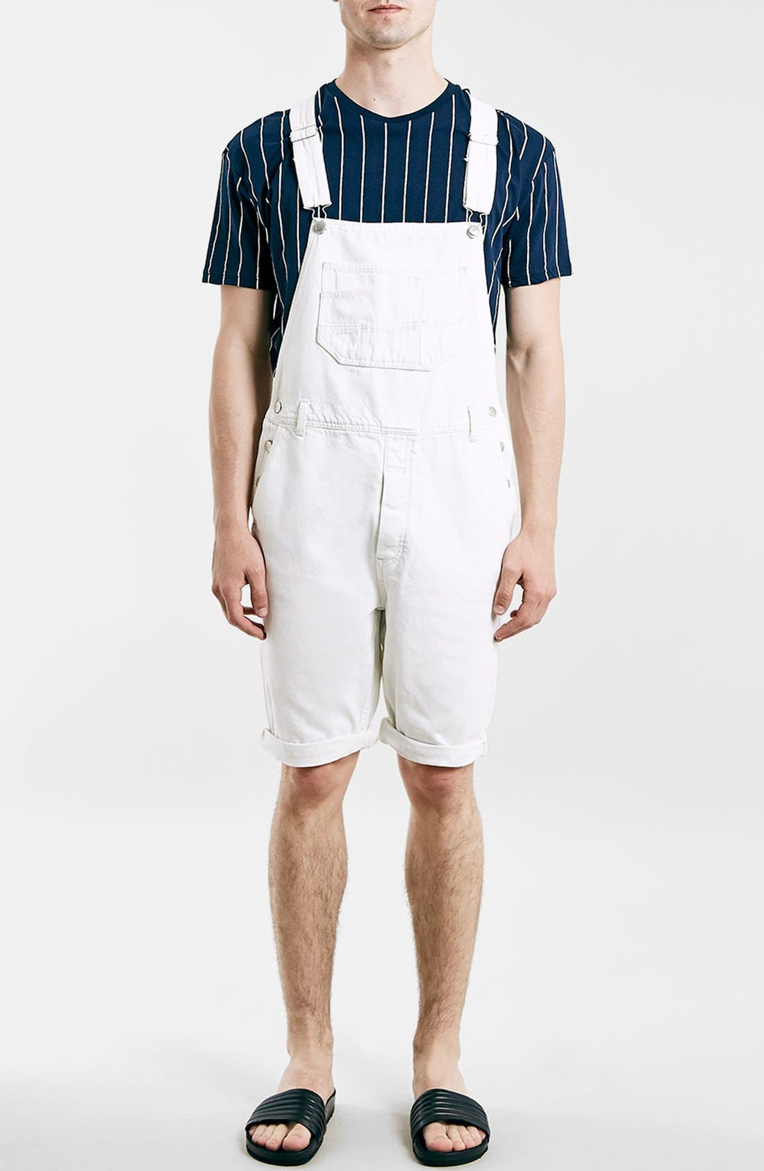 TOPMAN, Denim Overall Shorts, Alternate thumbnail 2, color, 900
