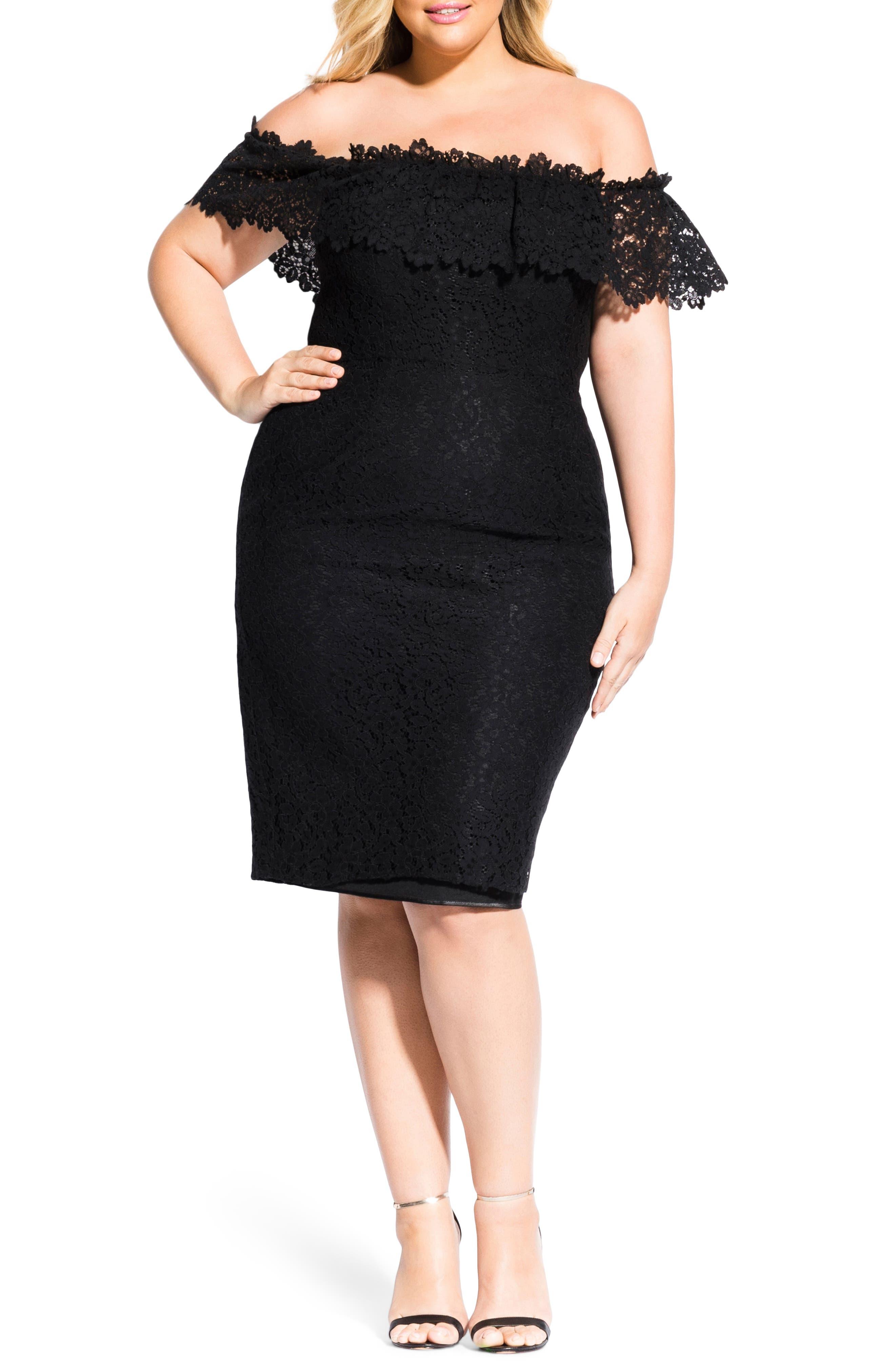 Plus Size City Chic Lace Flourish Off The Shoulder Dress, Black