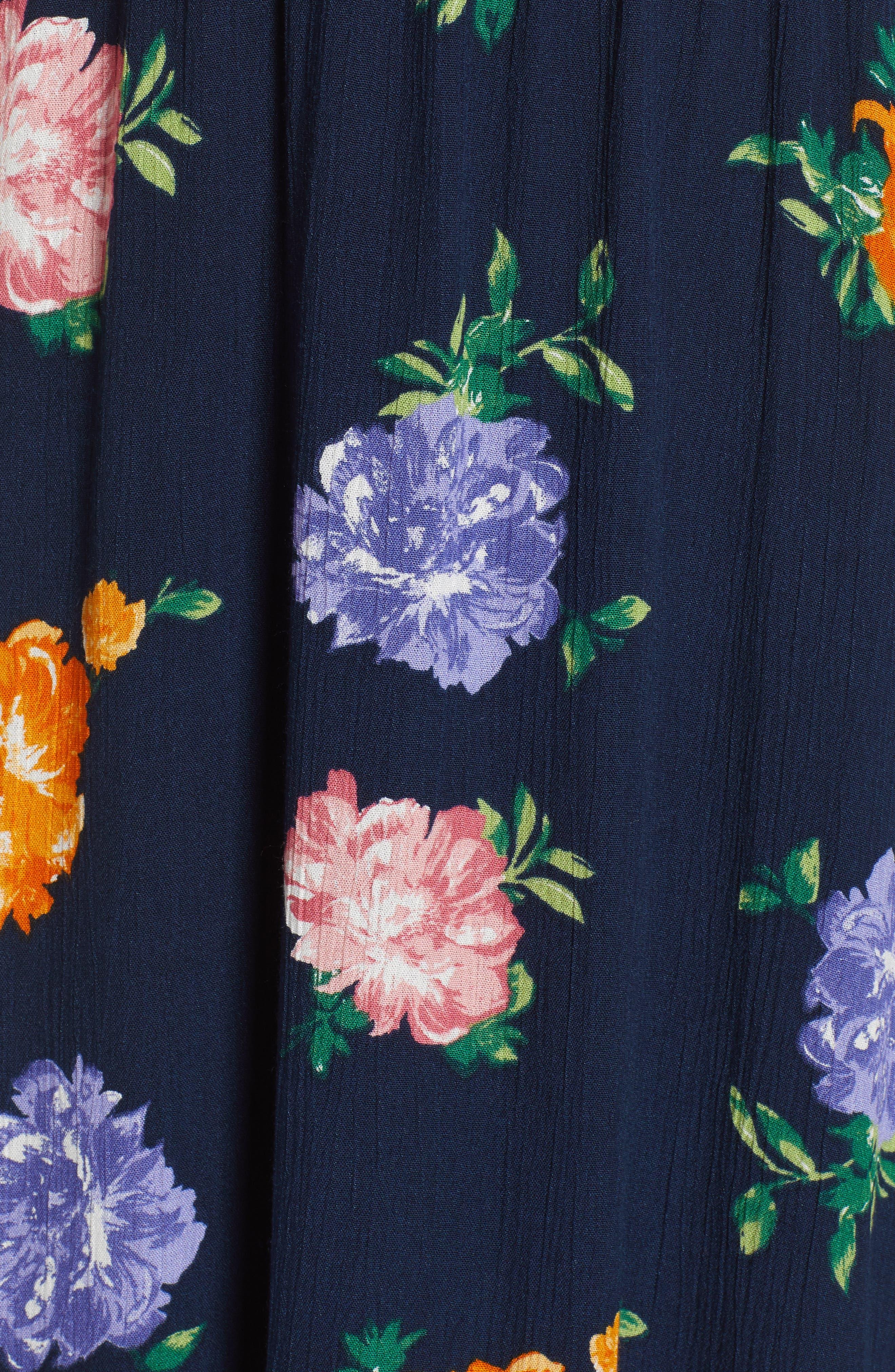 WAYF, Blouson Midi Dress, Alternate thumbnail 6, color, NAVY FLORAL