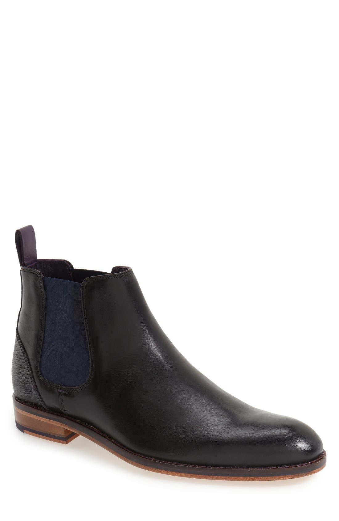 TED BAKER LONDON, 'Camroon 4' Chelsea Boot, Main thumbnail 1, color, BLACK LEATHER