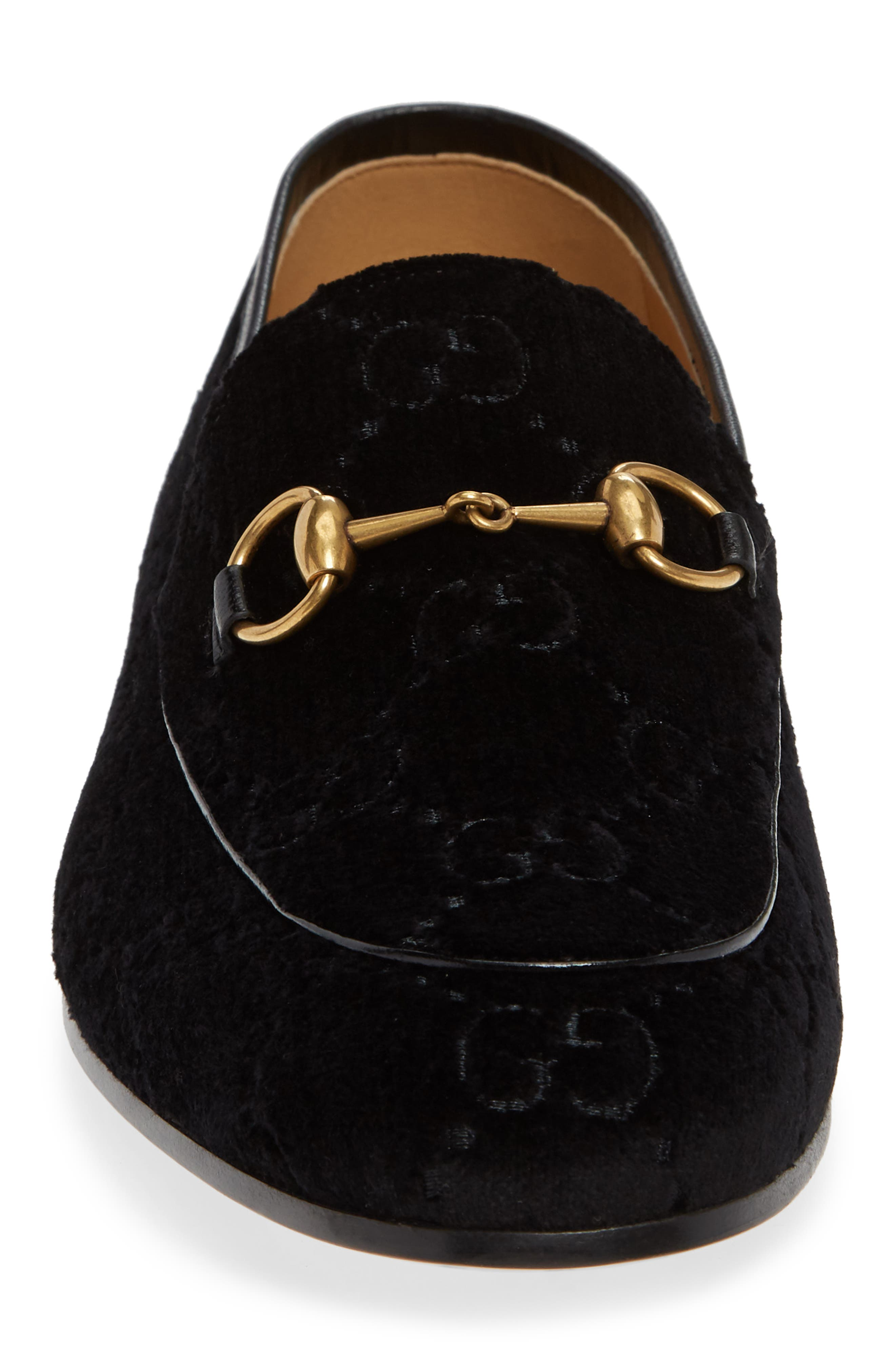 GUCCI, Jordaan GG Velvet Loafer, Alternate thumbnail 4, color, NERO/ NERO