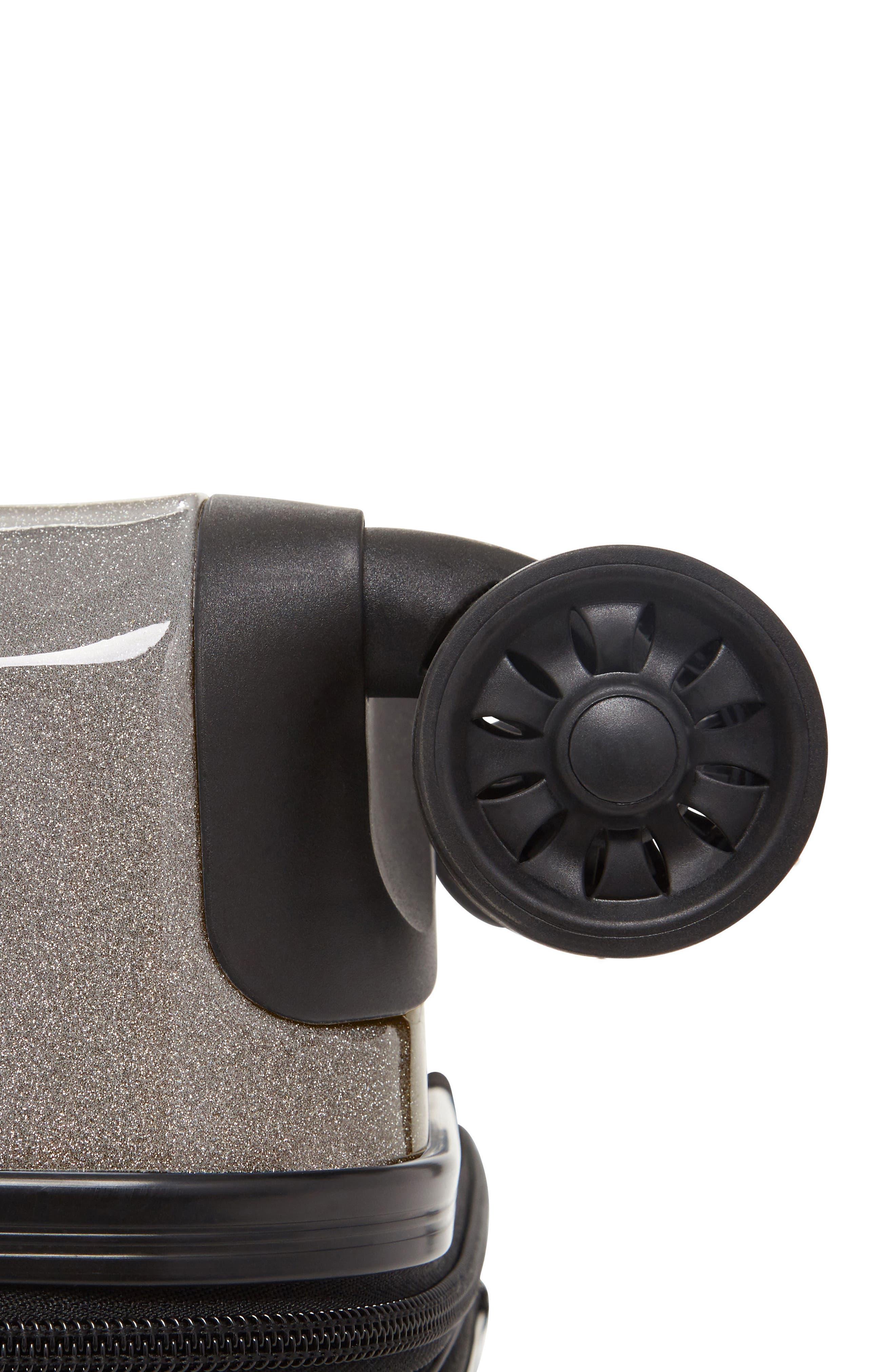 CALPAK, Medora Glitter 20-Inch Hardshell Spinner Carry-On Suitcase, Alternate thumbnail 4, color, ECLIPSE