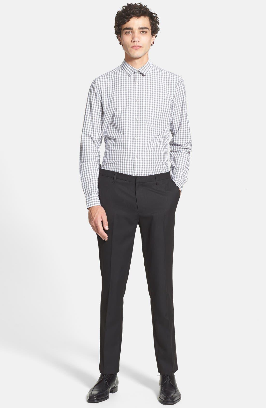TOPMAN, Skinny Fit Cotton Flannel Trousers, Alternate thumbnail 5, color, 001