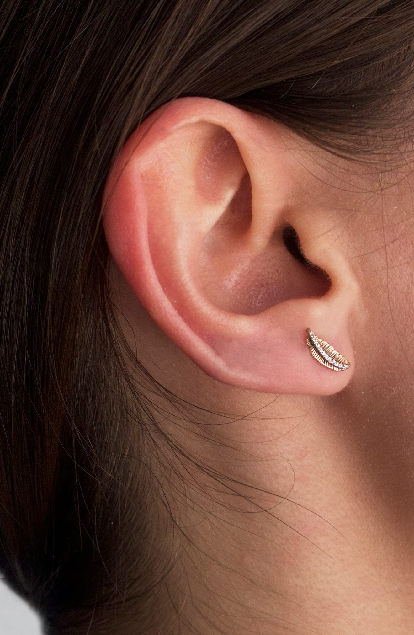KISMET BY MILKA, Diamond Feather Single Earring, Alternate thumbnail 3, color, ROSE GOLD/ DIAMOND