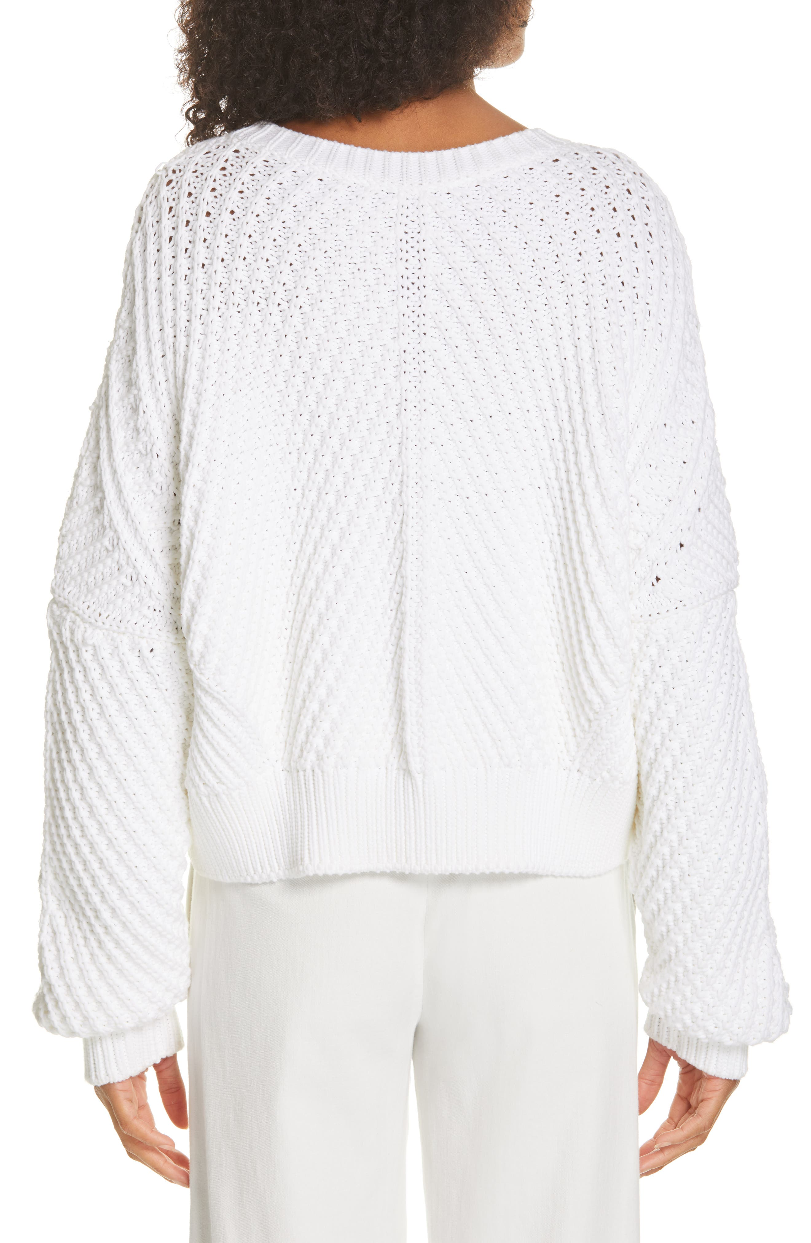 VINCE, Rib Knit Sweater, Alternate thumbnail 2, color, OPTIC WHITE