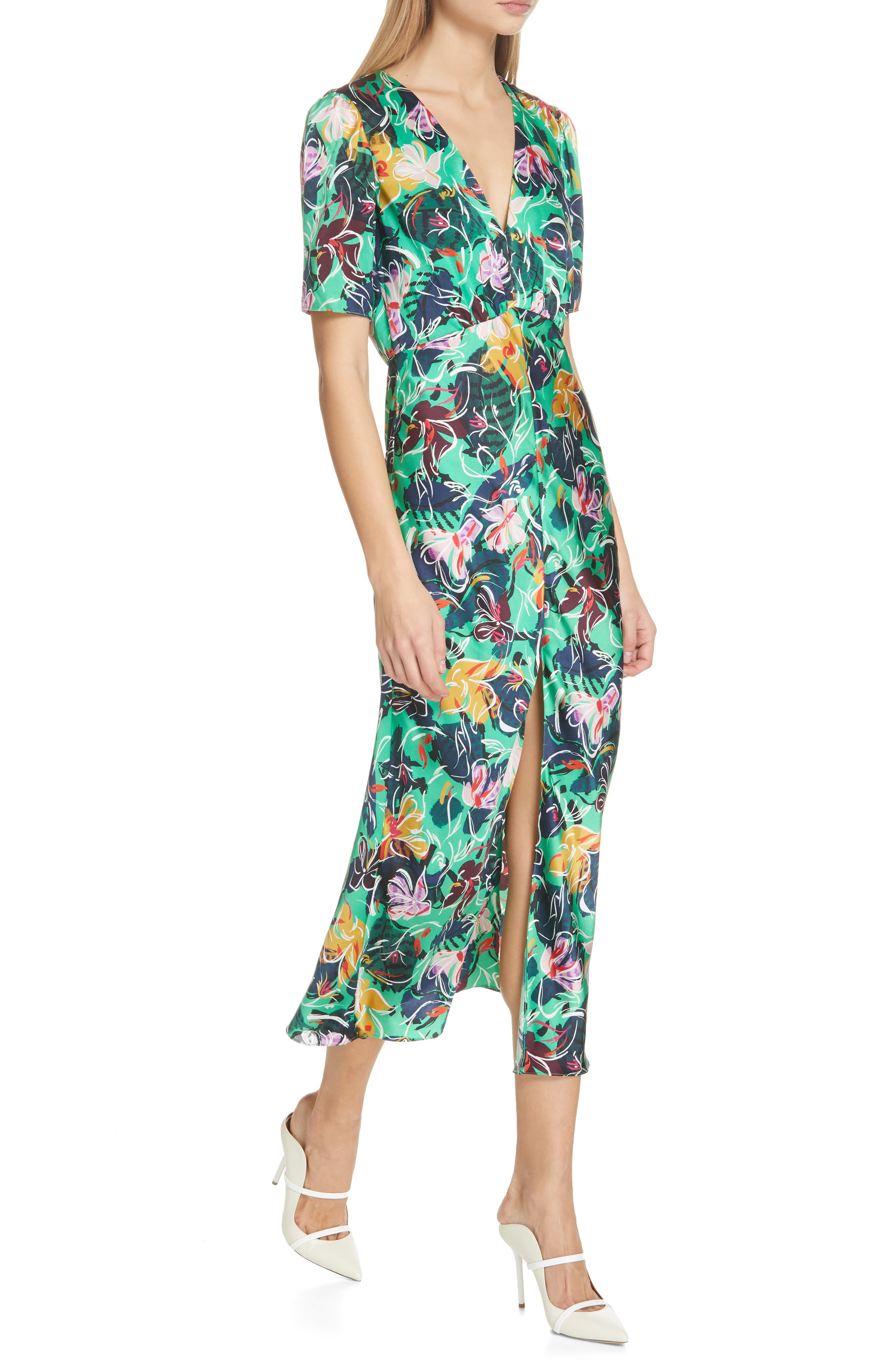 SALONI, Eden Floral Print Silk Midi Dress, Alternate thumbnail 4, color, EMERALD KINGCUP