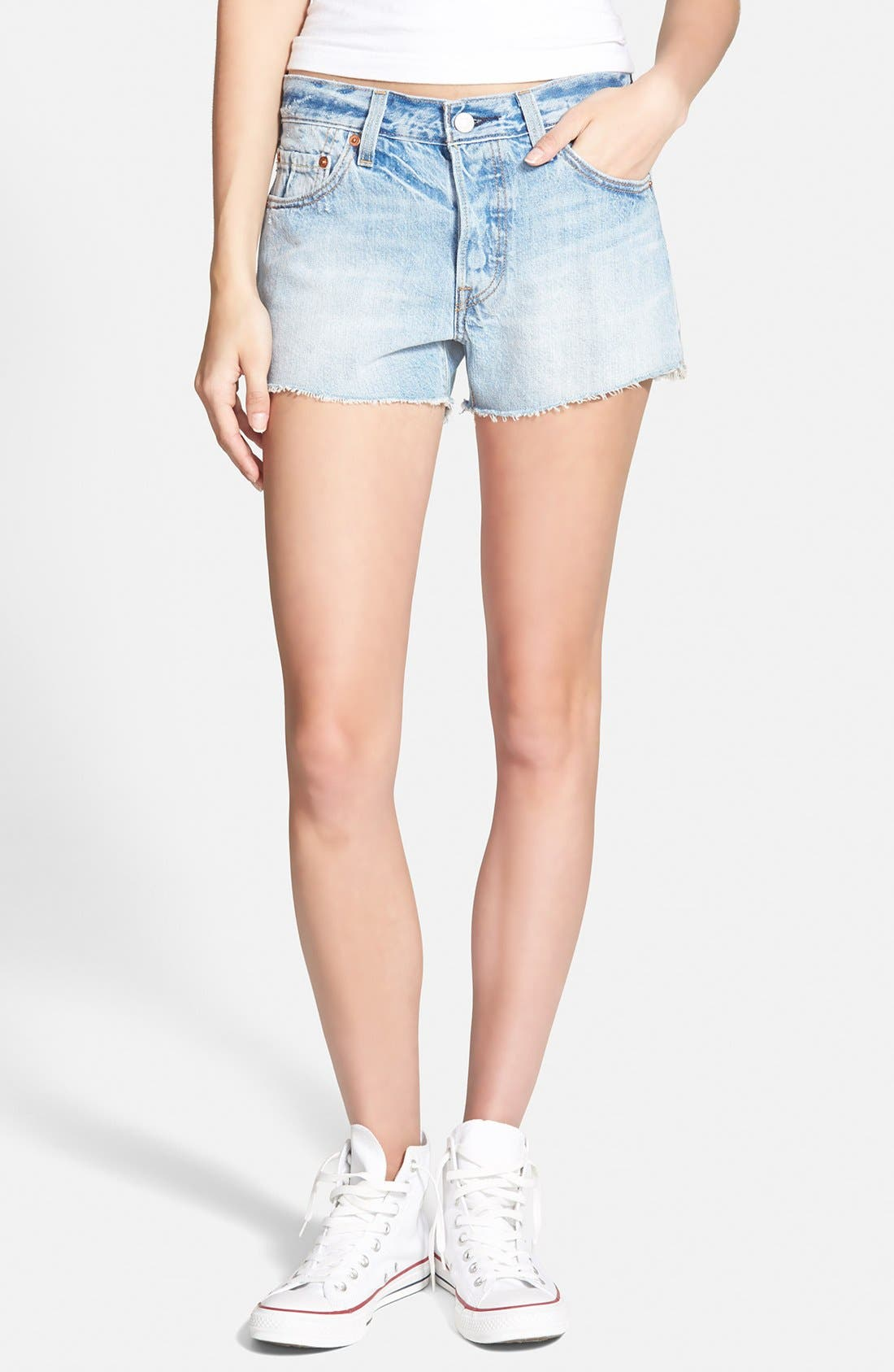 LEVI'S<SUP>®</SUP> '501<sup>®</sup>' Cutoff Denim Shorts, Main, color, 420