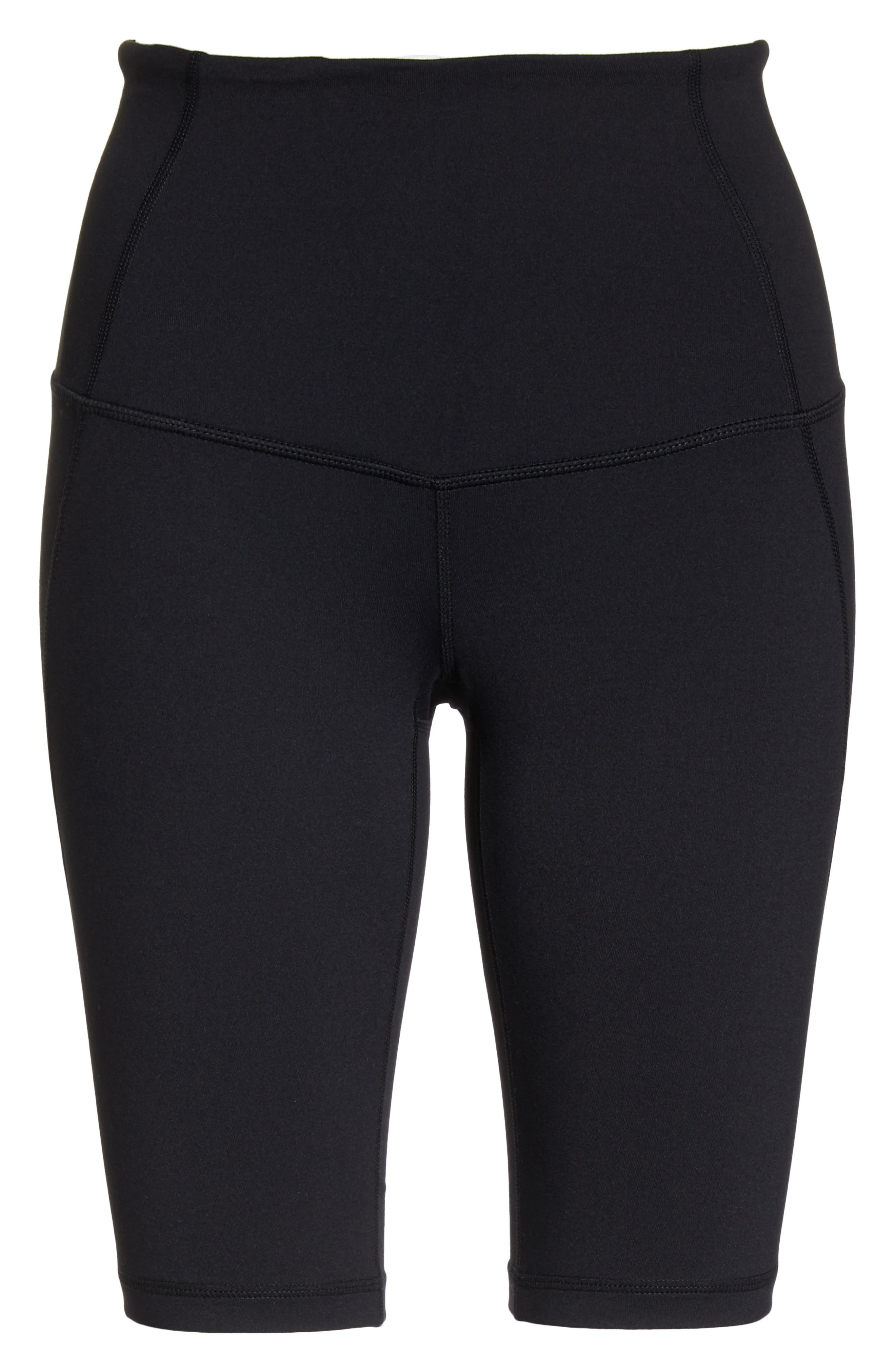 ZELLA, Hatha High Waist Bike Shorts, Alternate thumbnail 7, color, BLACK