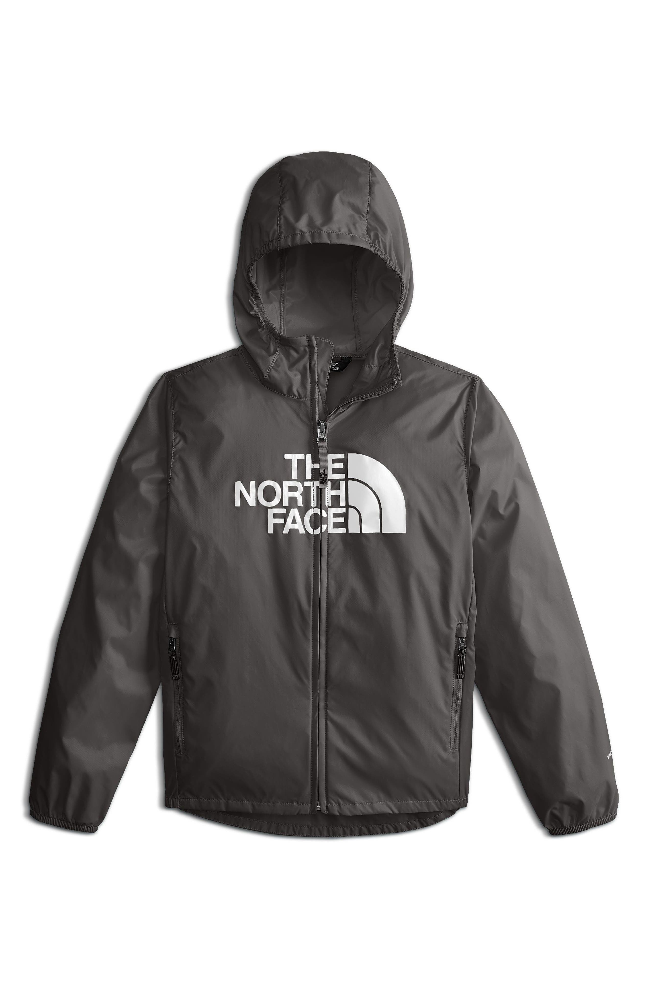 THE NORTH FACE, Flurry Hooded Windbreaker Jacket, Main thumbnail 1, color, GRAPHITE GREY