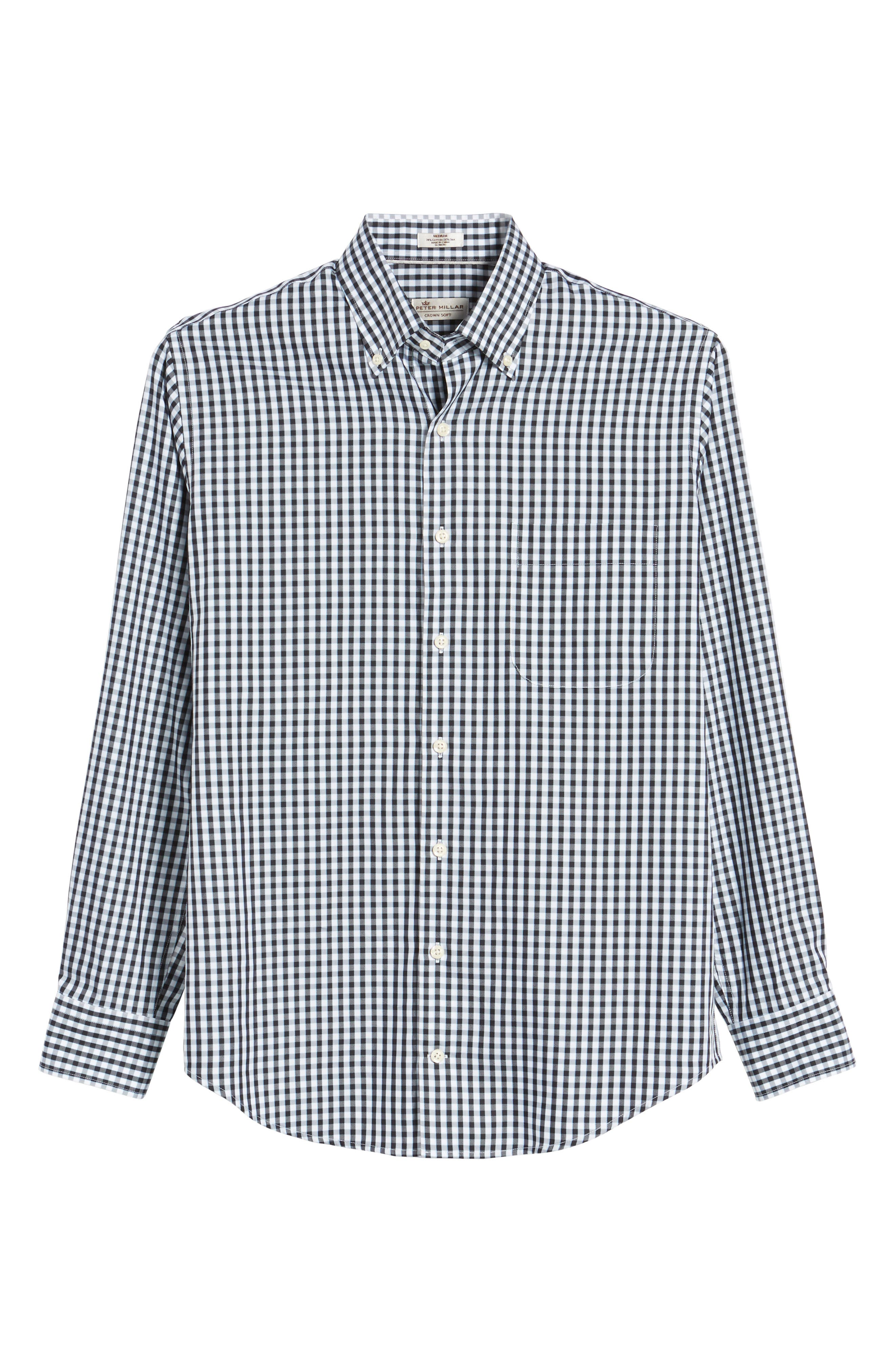 PETER MILLAR, Black Sand Regular Fit Gingham Check Sport Shirt, Alternate thumbnail 6, color, BLACK