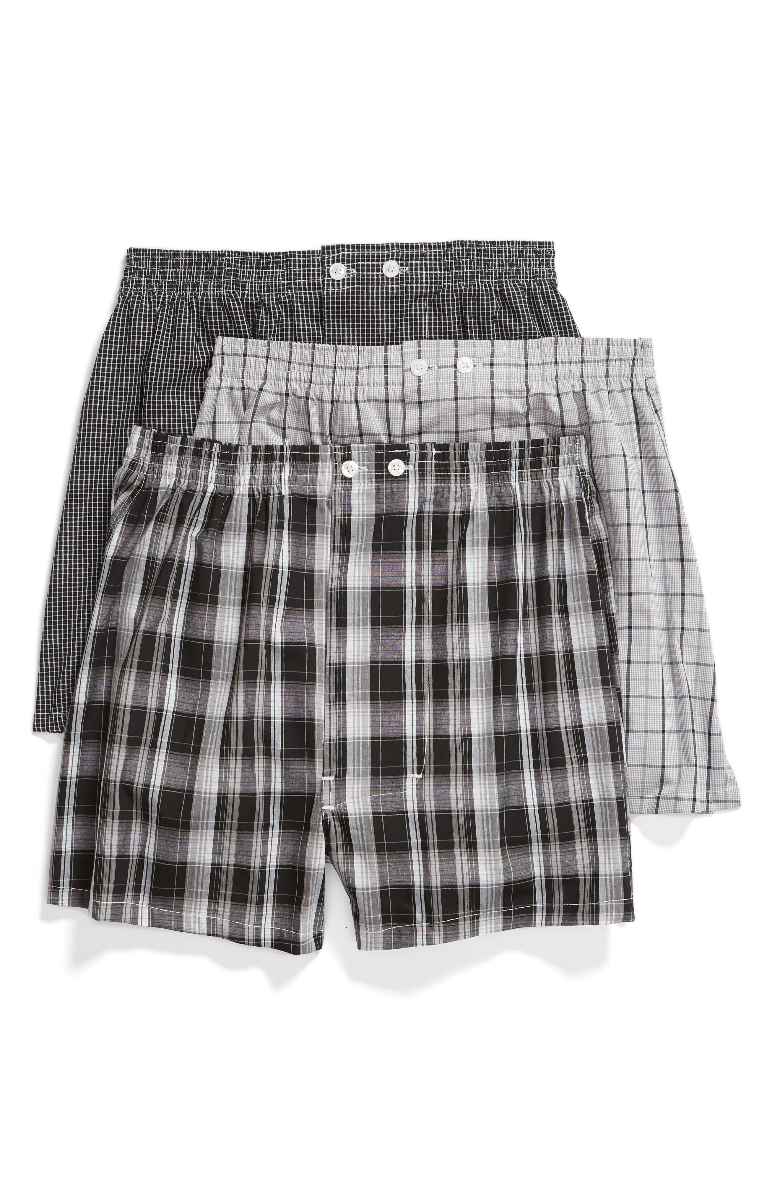 NORDSTROM MEN'S SHOP, 3-Pack Classic Fit Boxers, Main thumbnail 1, color, BLACK- WHITE PLAID PACK