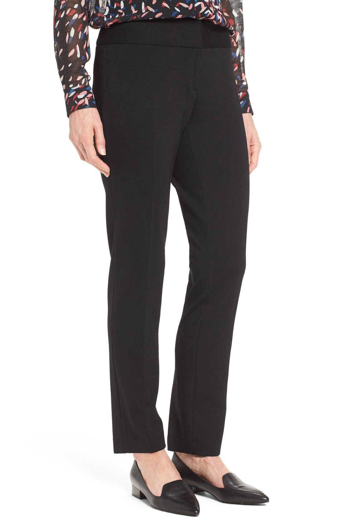 VINCE CAMUTO, Ponte Ankle Pants, Main thumbnail 1, color, BLACK