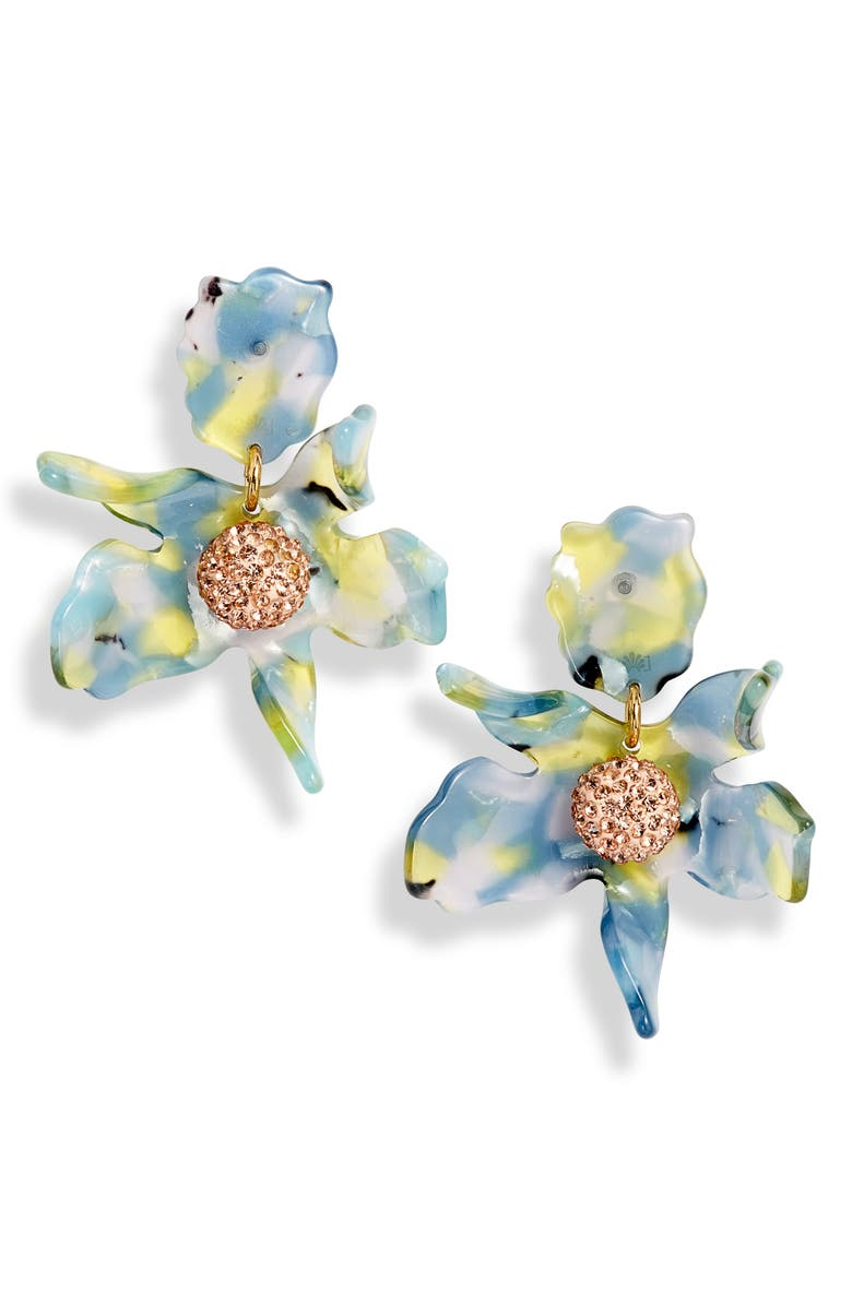 Lele Sadoughi Accessories SMALL CRYSTAL LILY EARRINGS