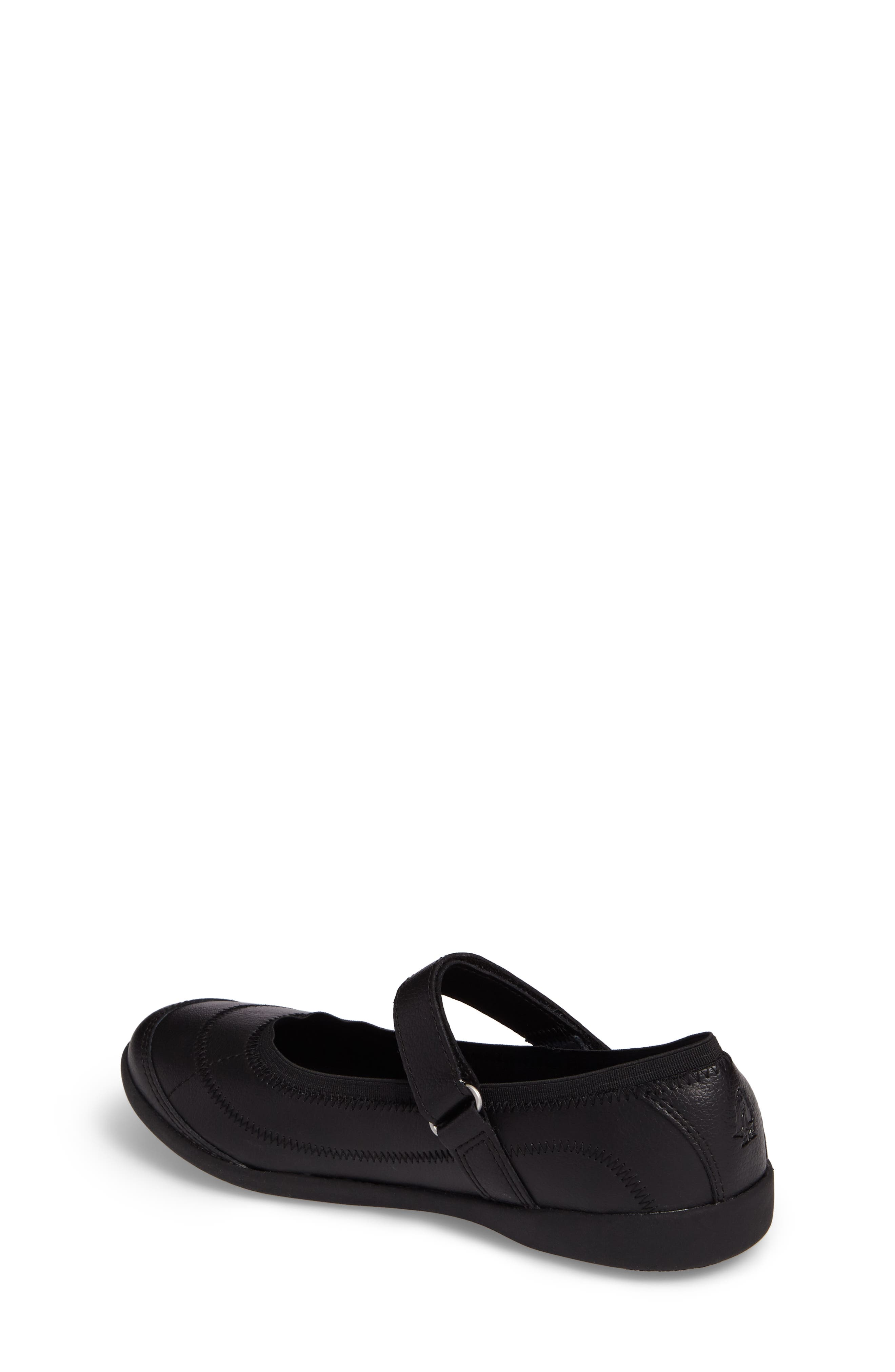 HUSH PUPPIES<SUP>®</SUP>, Reese Mary Jane Flat, Alternate thumbnail 2, color, BLACK LEATHER