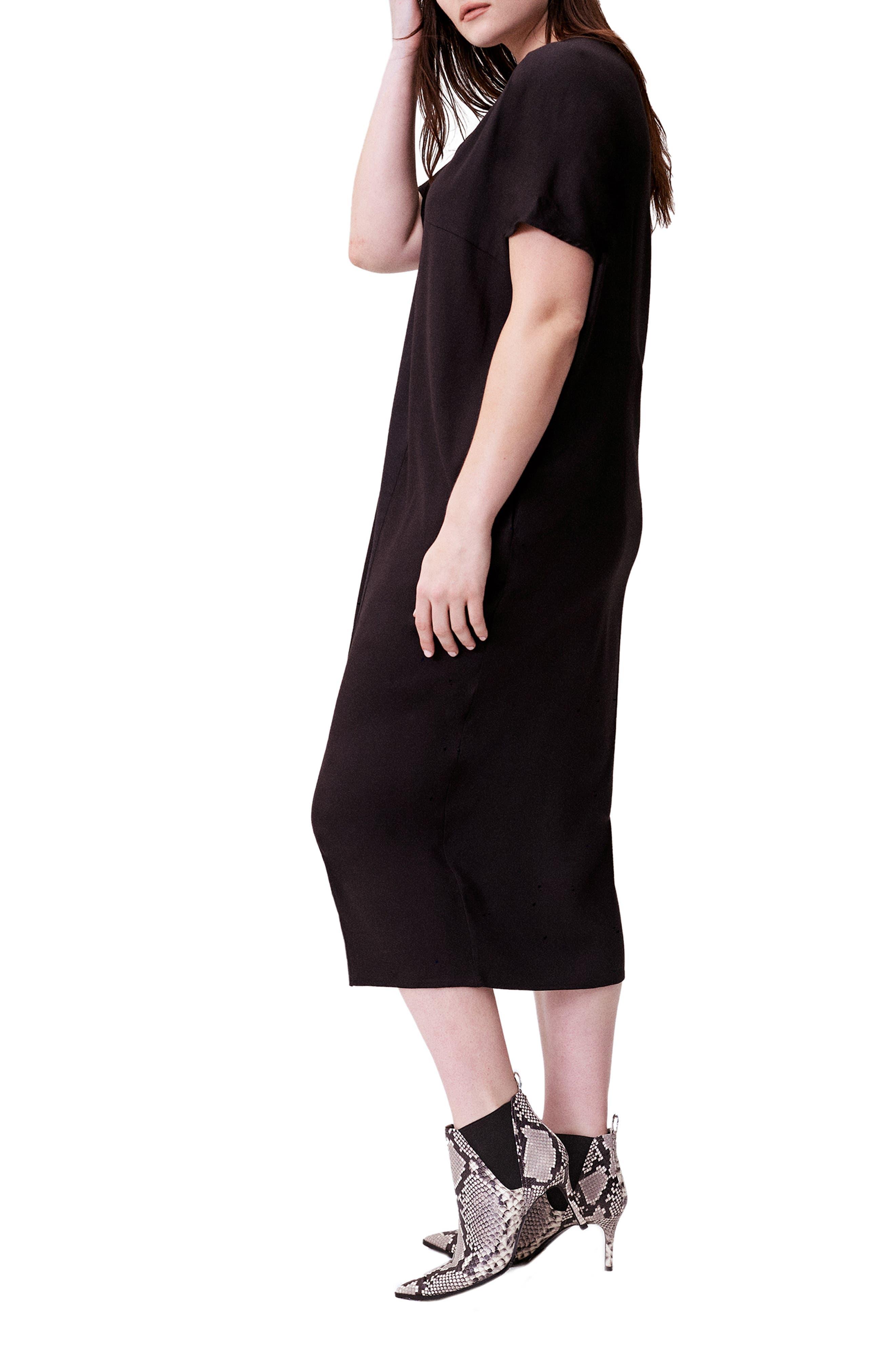 UNIVERSAL STANDARD, Crosby Caftan Dress, Alternate thumbnail 3, color, BLACK