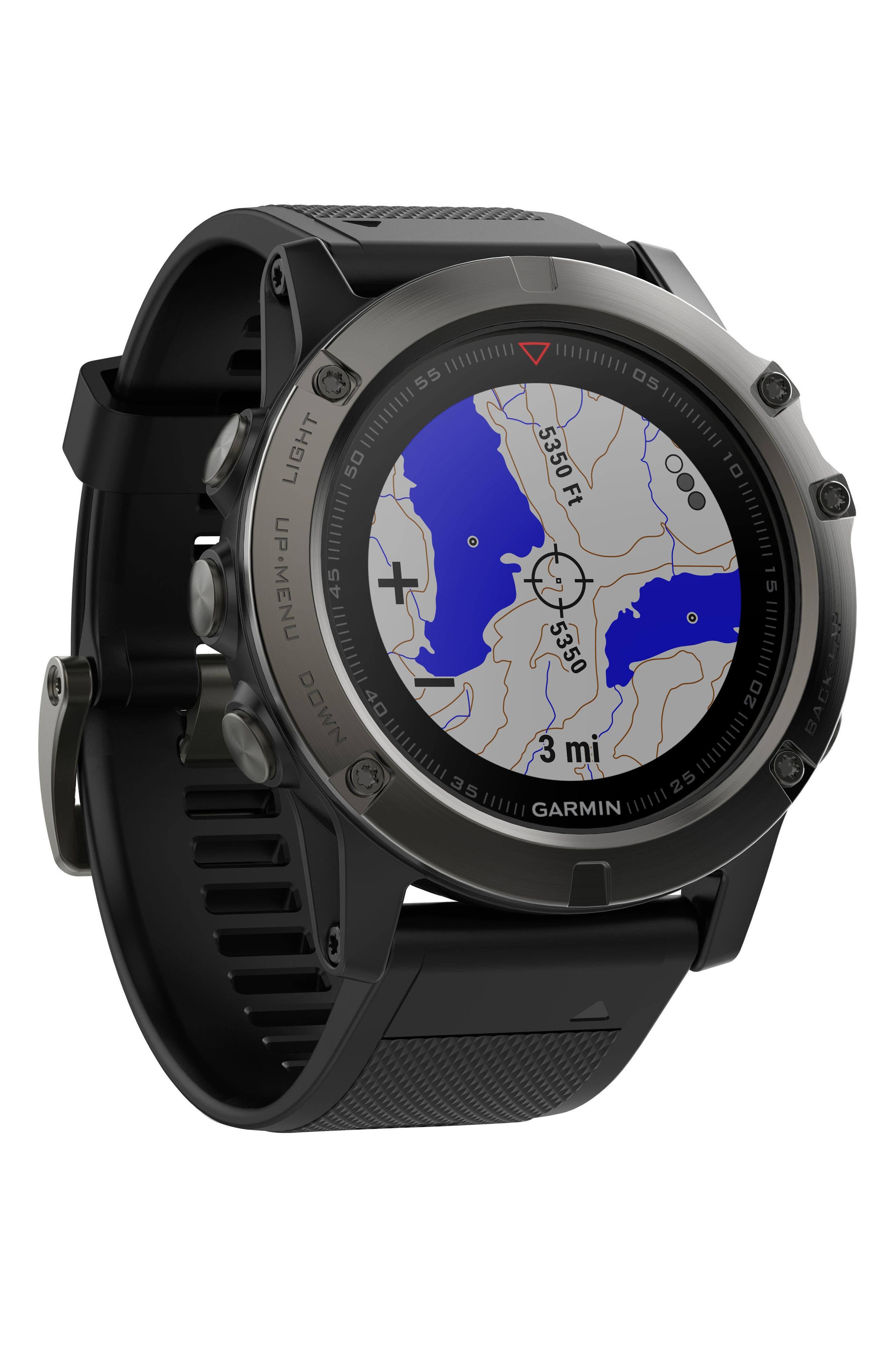 GARMIN, fenix<sup>®</sup> 5X Sapphire Premium Multisport GPS Watch, 51mm, Alternate thumbnail 5, color, BLACK/ SLATE GRAY SAPPHIRE