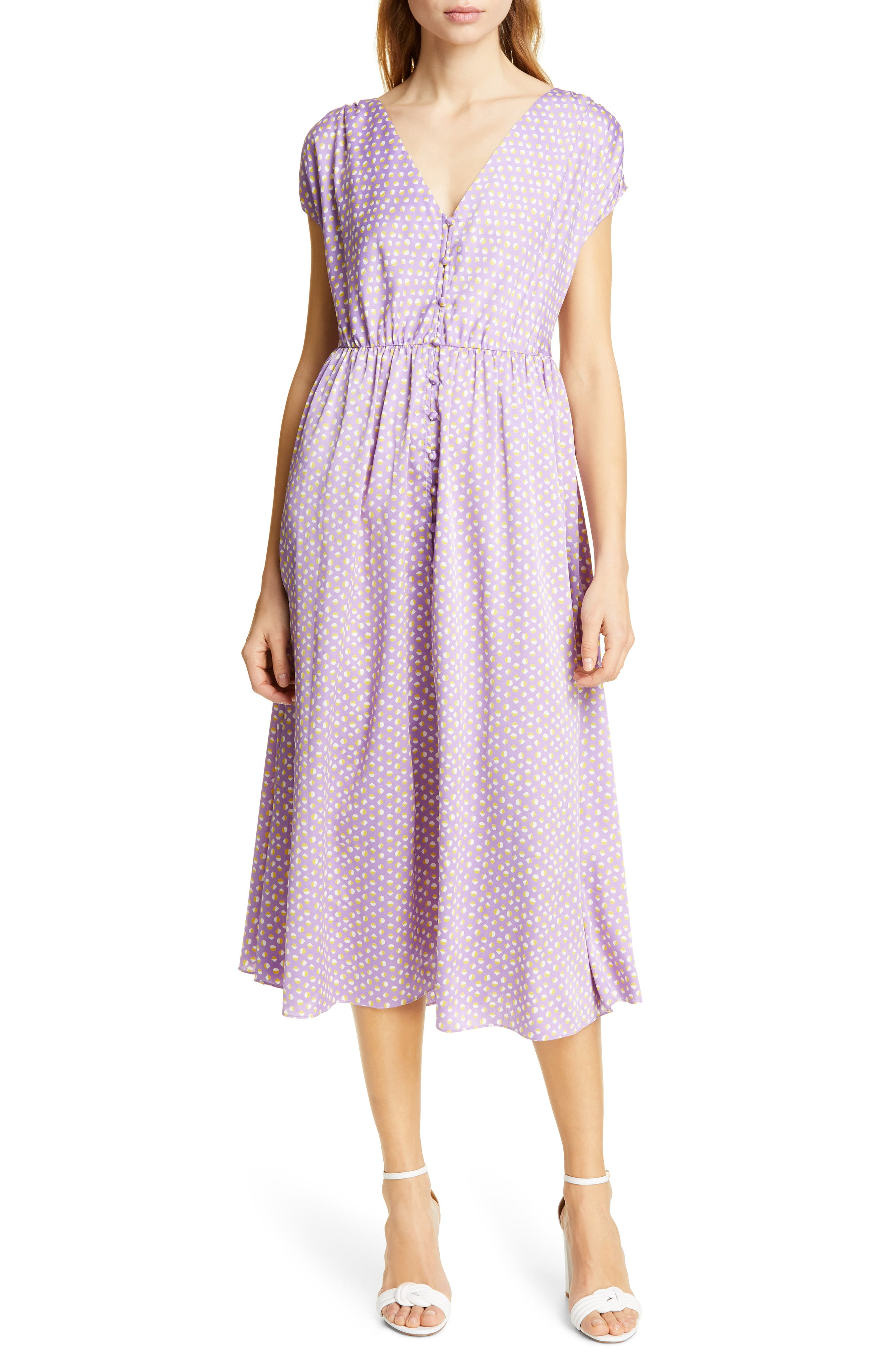 Kate Spade New York Geo Dot Midi Dress, Purple