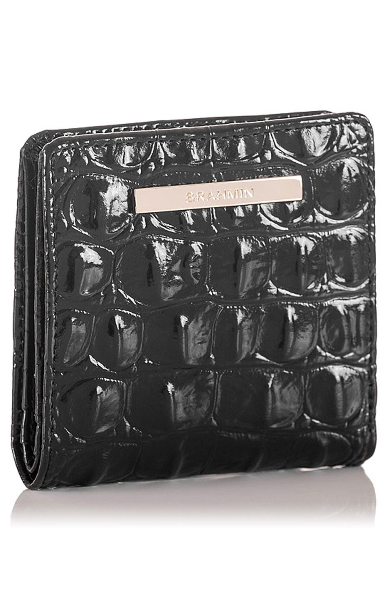 BRAHMIN, Jane Croc Embossed Leather Wallet, Alternate thumbnail 4, color, BLACK MELBOURNE