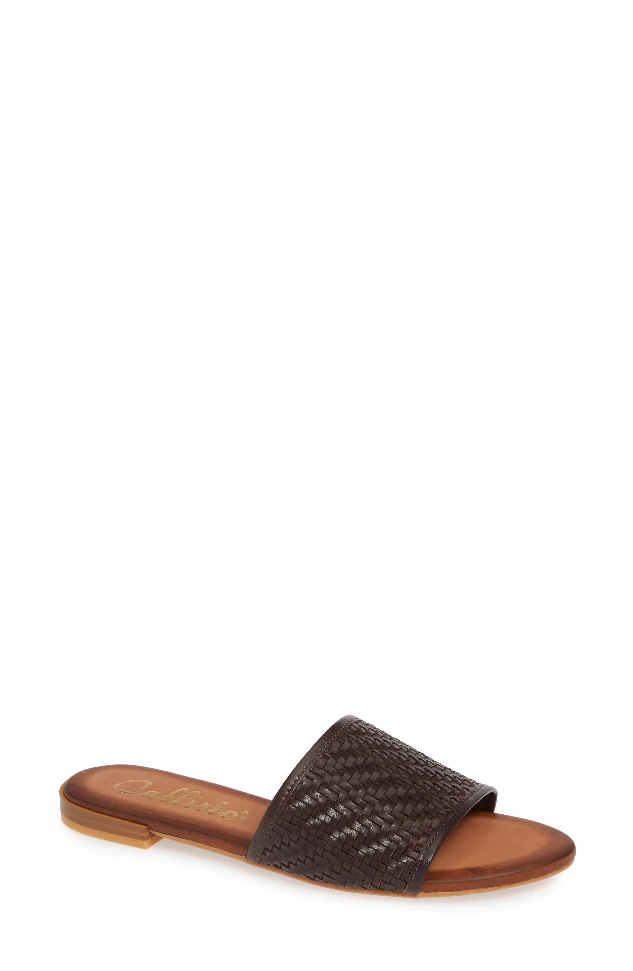 CALLISTO Thera Woven Slide Sandal, Main, color, BROWN WOVEN LEATHER
