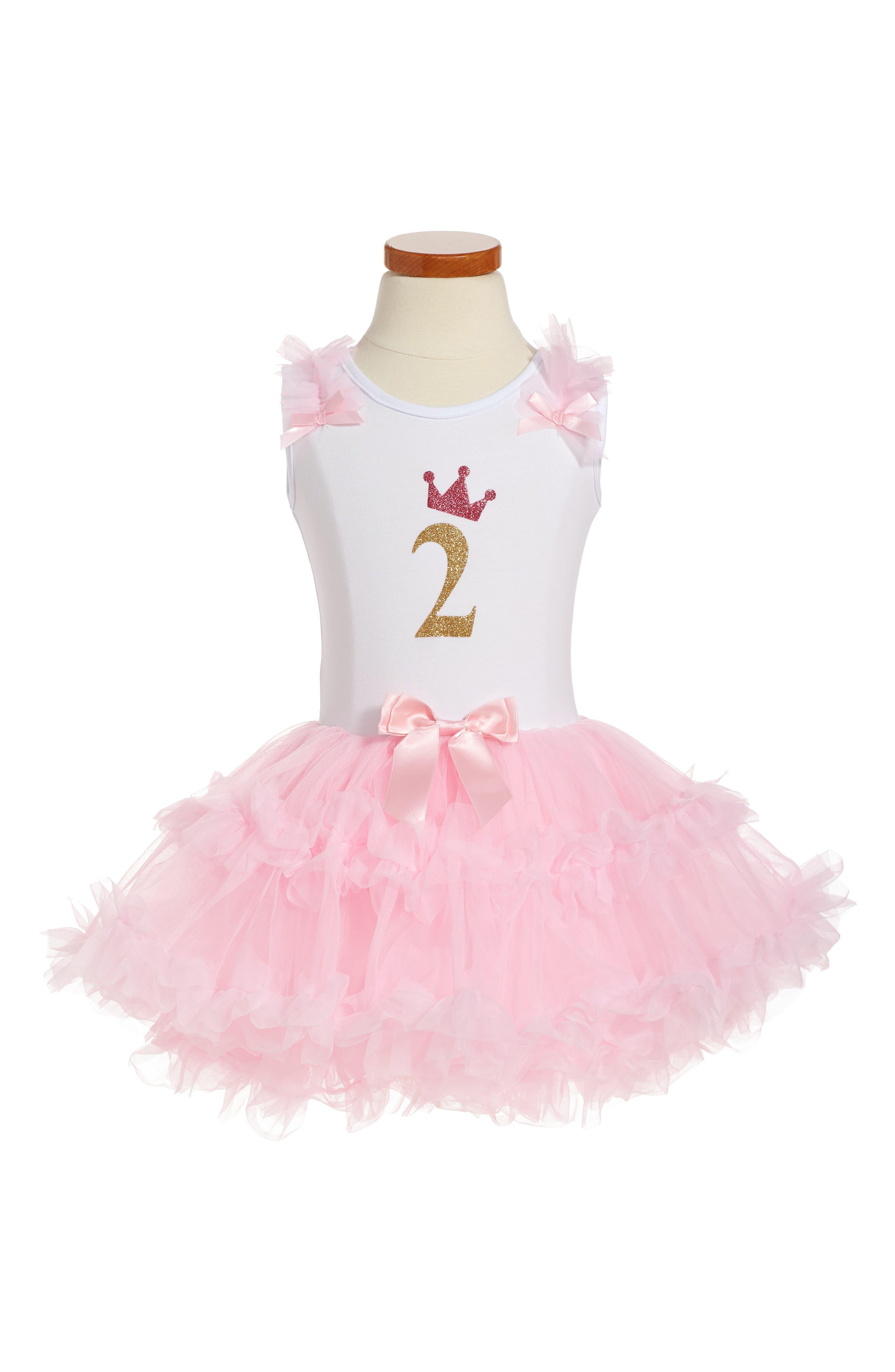 POPATU Birthday Print Tutu Dress, Main, color, PINK