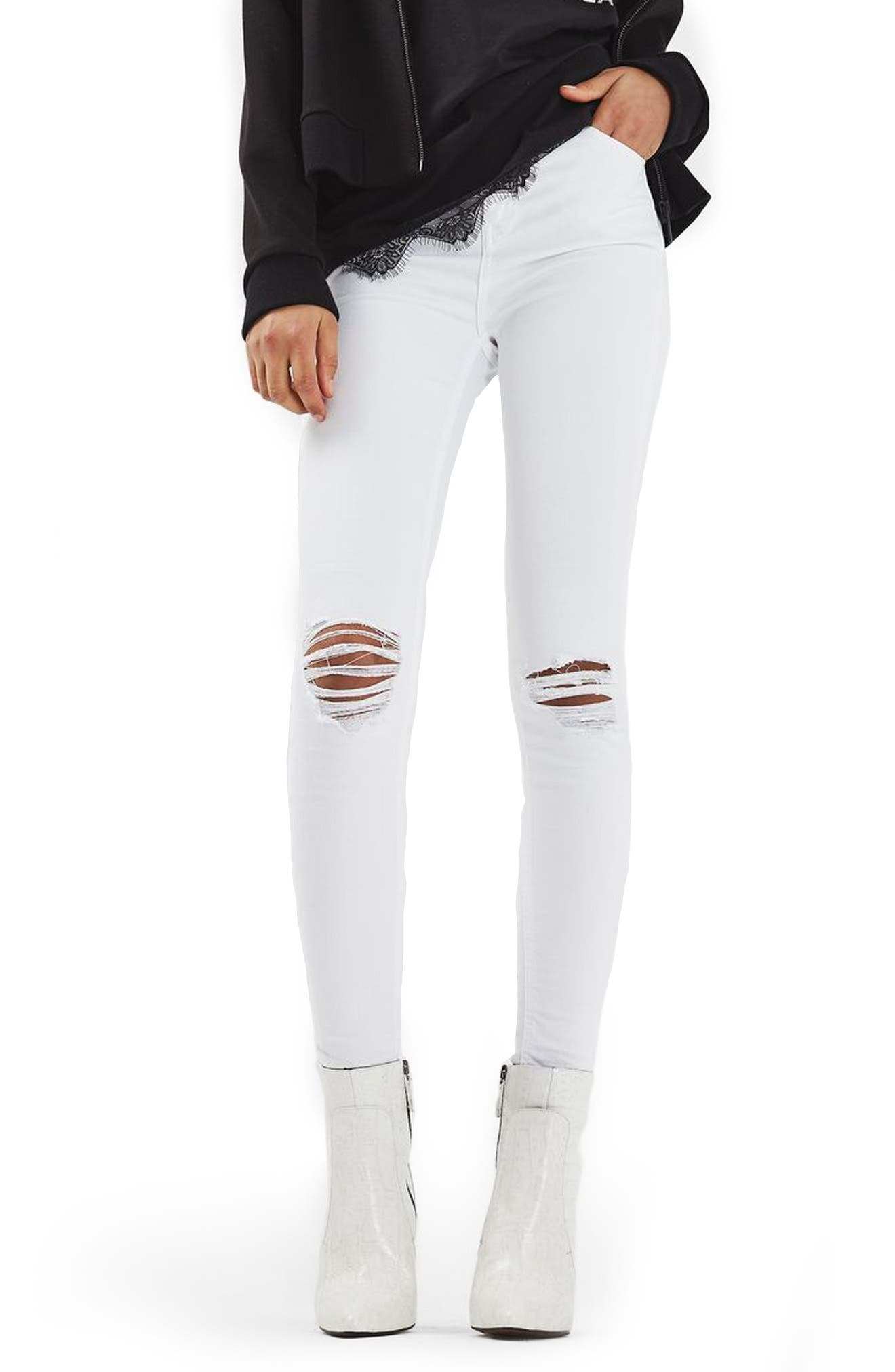 TOPSHOP Jamie Ripped Skinny Jeans, Main, color, 100