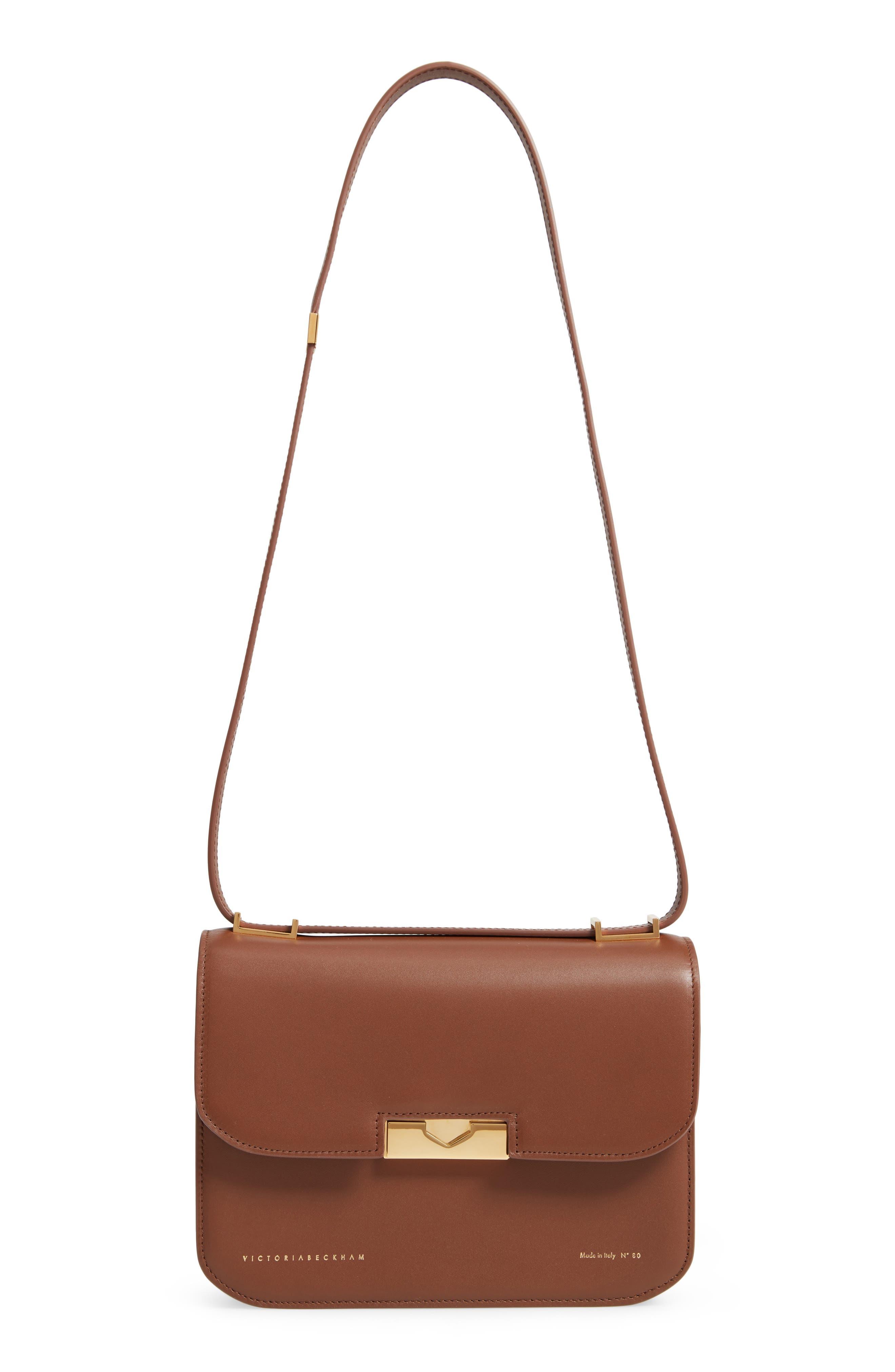 VICTORIA BECKHAM Eva Leather Shoulder Bag, Main, color, AMBER