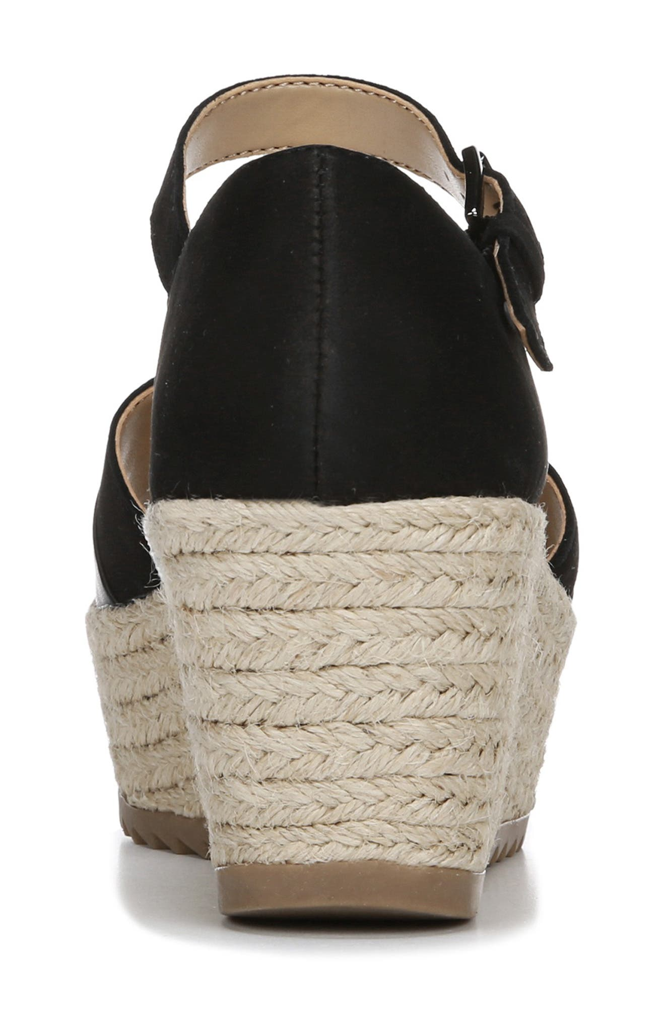NATURALIZER, Opal Espadrille Platform Wedge Sandal, Alternate thumbnail 7, color, BLACK LEATHER