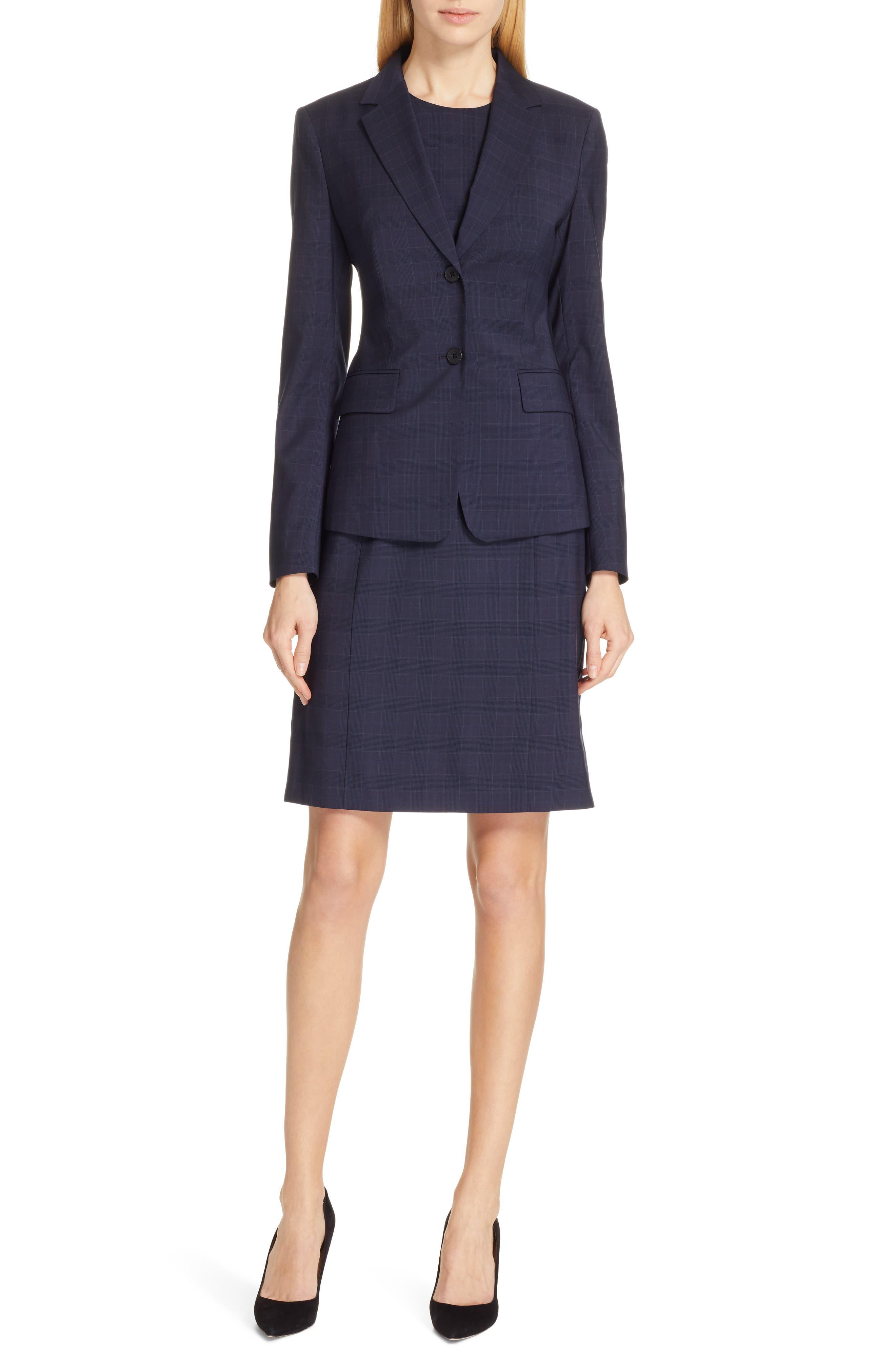 BOSS, Docanes Modern Check Wool Dress, Alternate thumbnail 8, color, DARK NAVY FANTASY