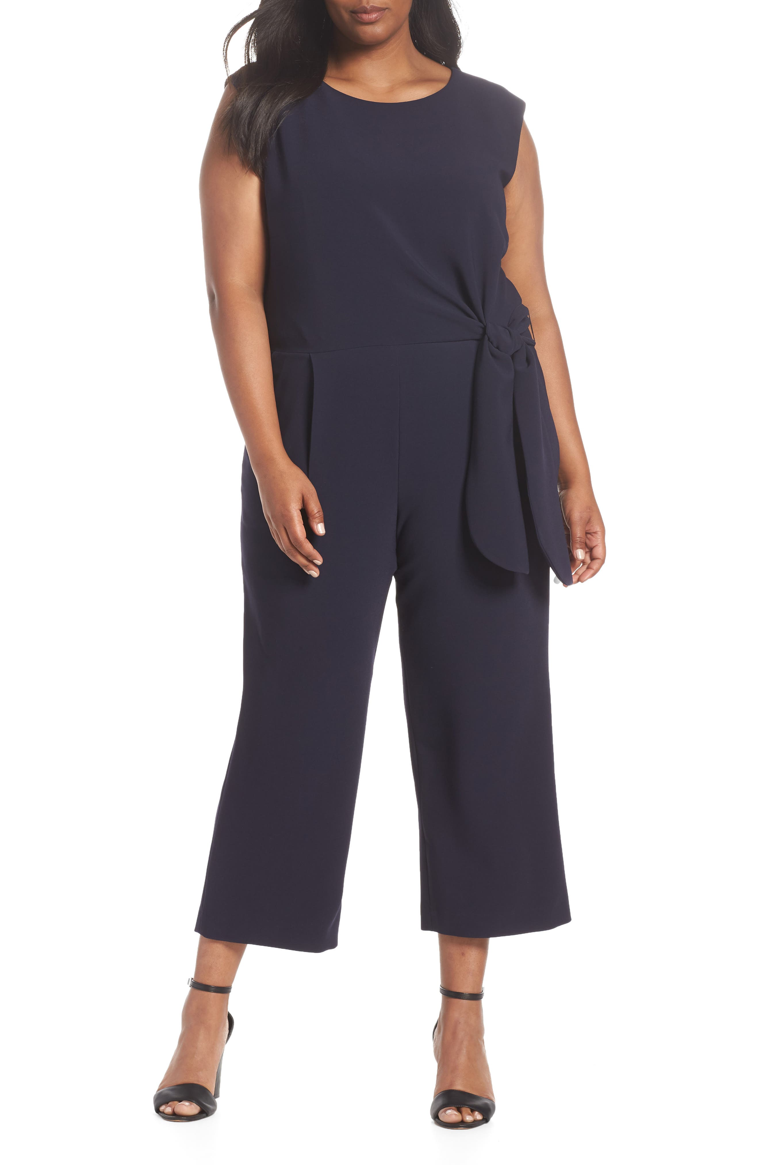 TAHARI, Tie Waist Crop Crepe Jumpsuit, Main thumbnail 1, color, NAVY