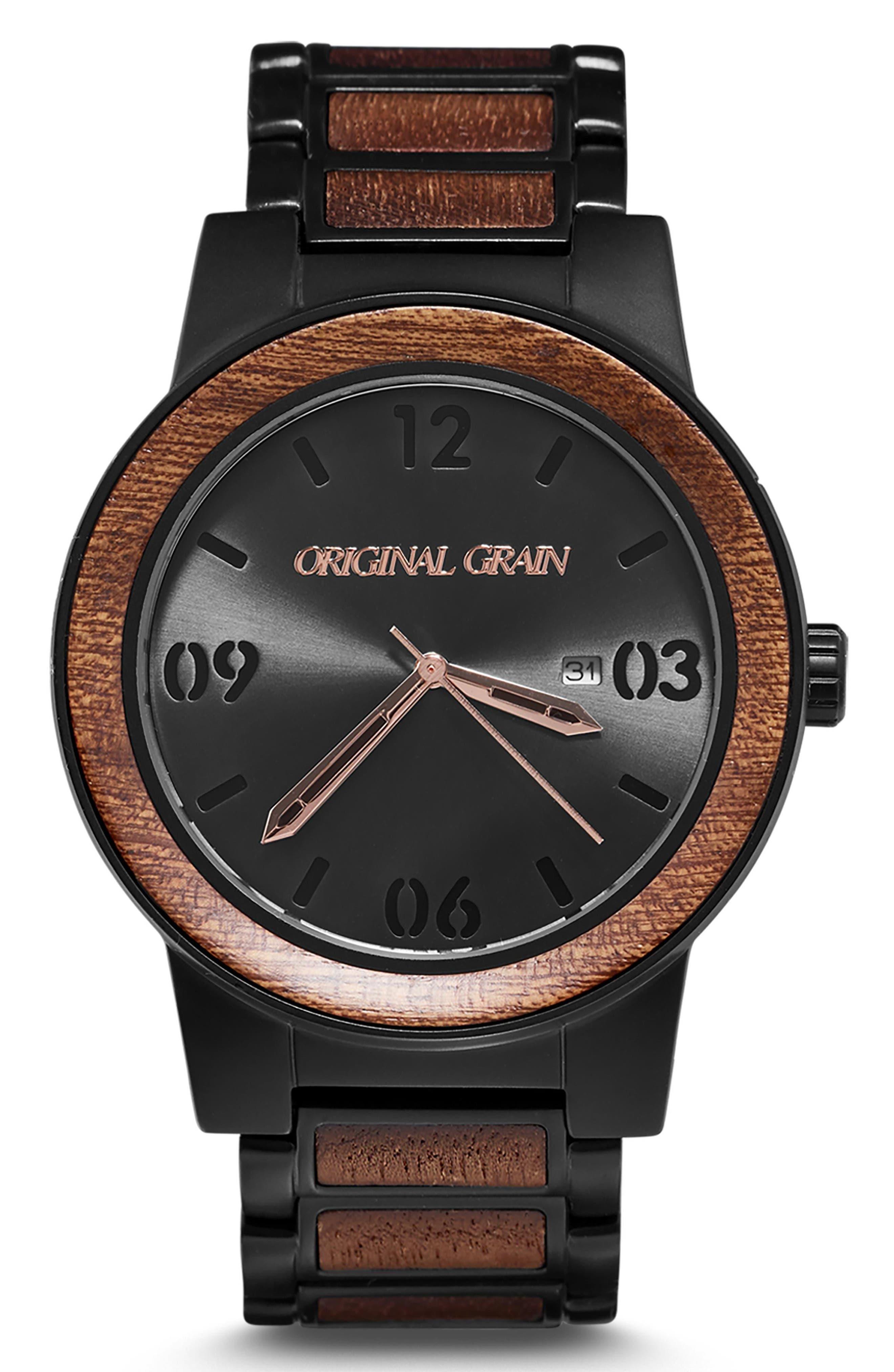 ORIGINAL GRAIN, The Barrel Bracelet Watch, 47mm, Main thumbnail 1, color, MATTE BLACK/ SAPELE WOOD