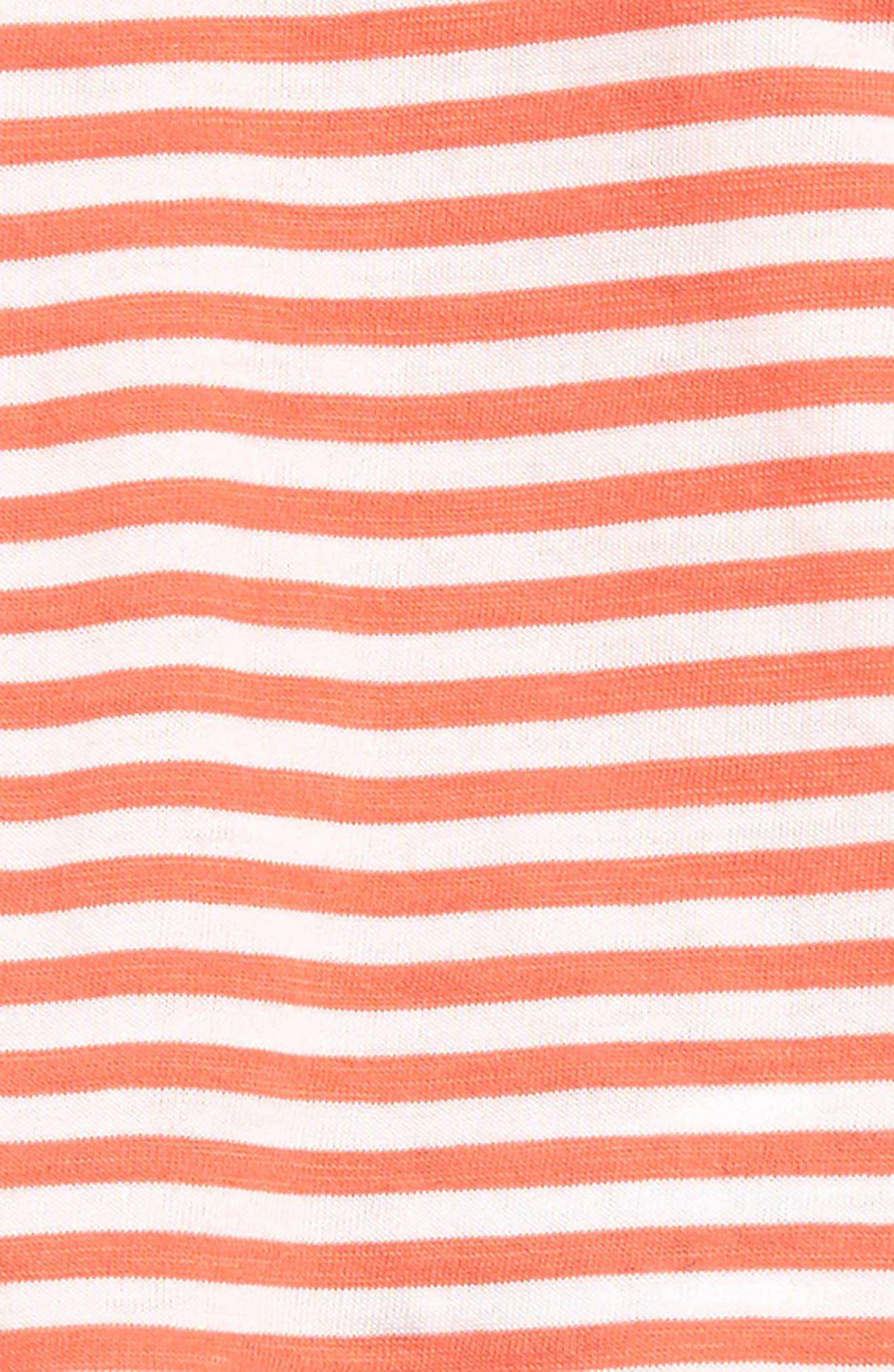 SPLENDID, Stripe Peplum T-Shirt & Leggings Set, Alternate thumbnail 2, color, CORAL LIPSTICK