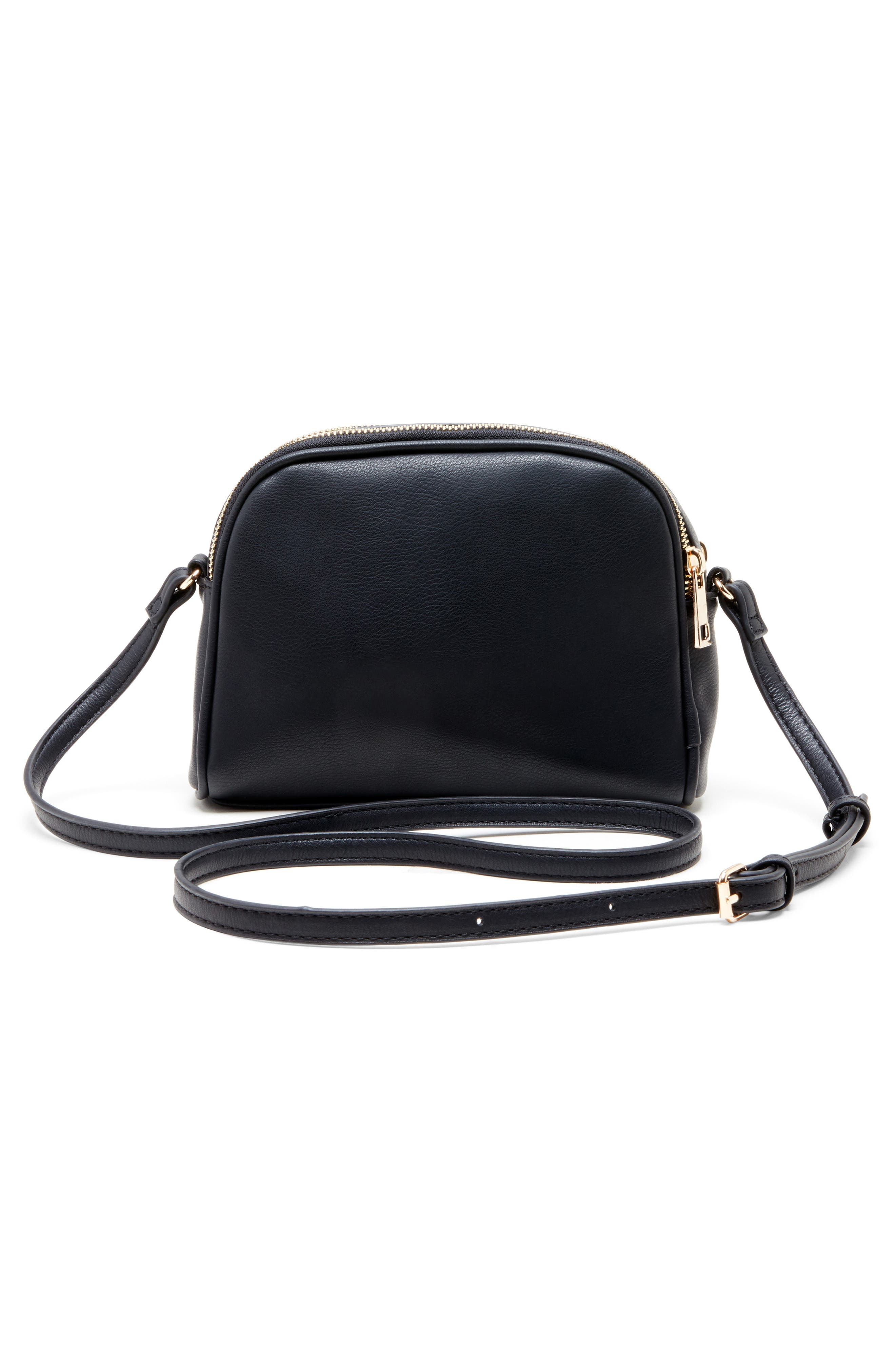SOLE SOCIETY, Linza Faux Leather Crossbody Bag, Alternate thumbnail 2, color, BLACK/ CREAM