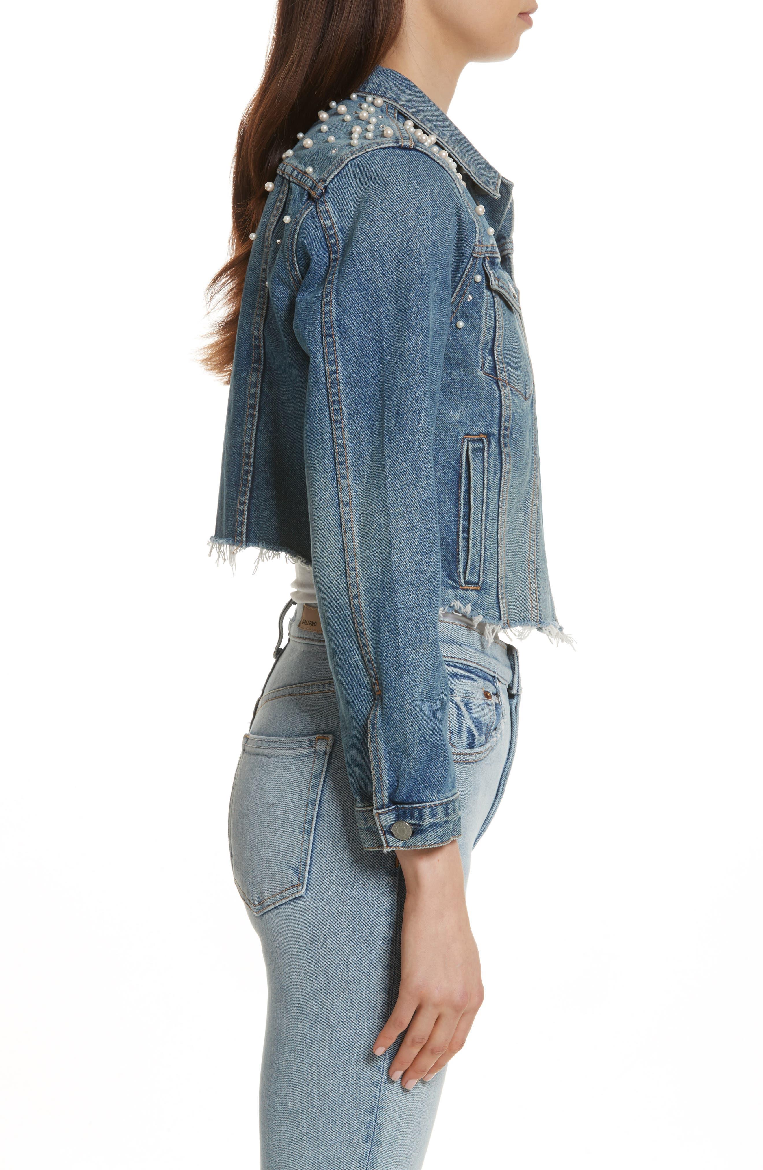 GRLFRND, Eve Faux Pearl & Crystal Embellished Crop Denim Jacket, Alternate thumbnail 3, color, 498