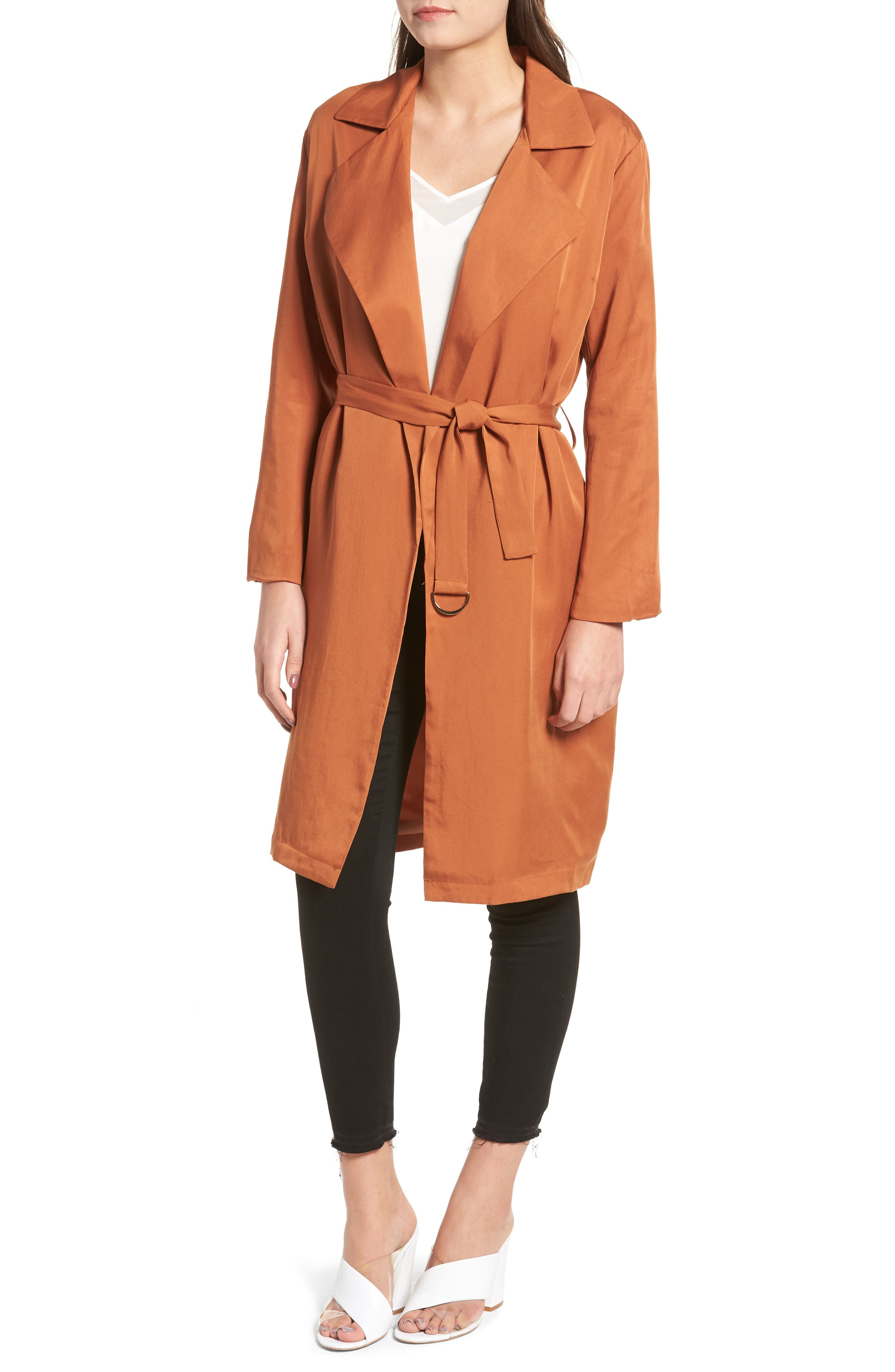 LIRA CLOTHING, Carmen Belted Trench Coat, Alternate thumbnail 5, color, BROWN