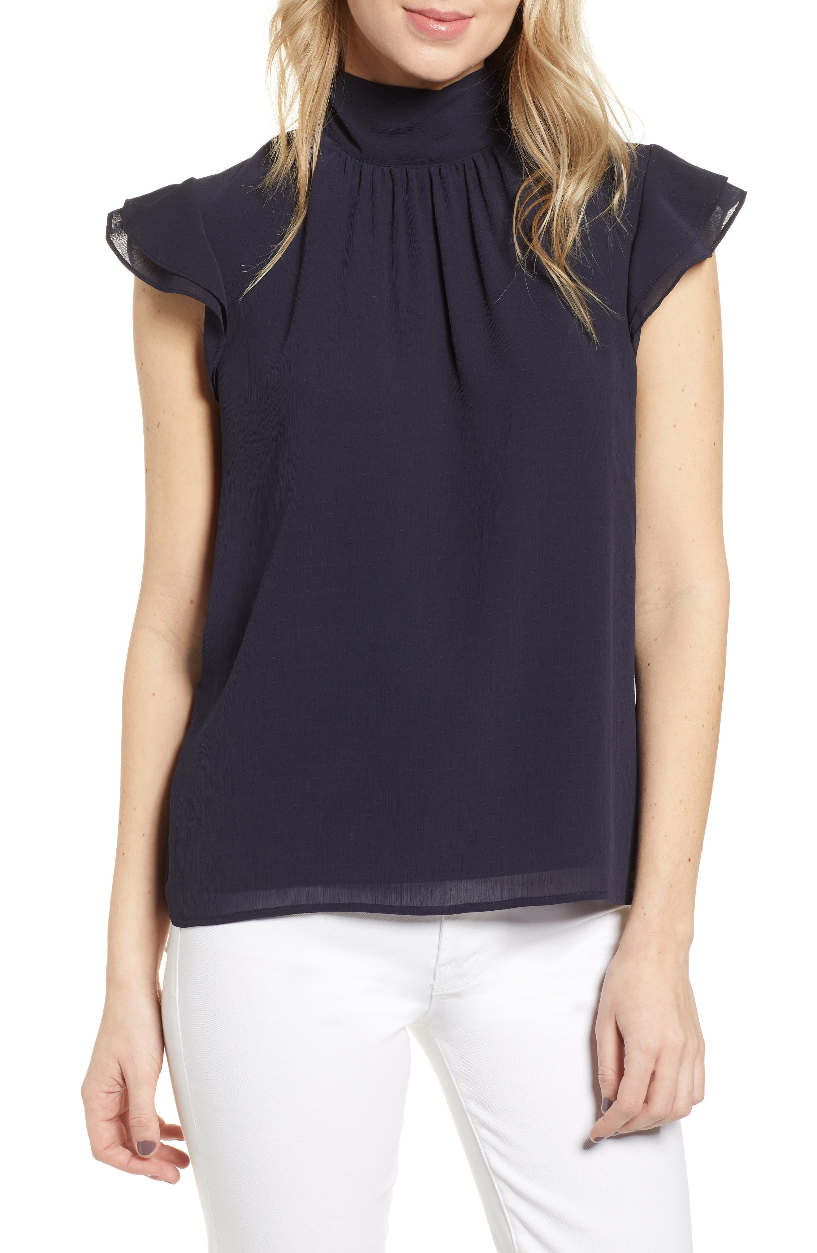 CHELSEA28, Dotted Crinkle Chiffon Top, Main thumbnail 1, color, NAVY NIGHT